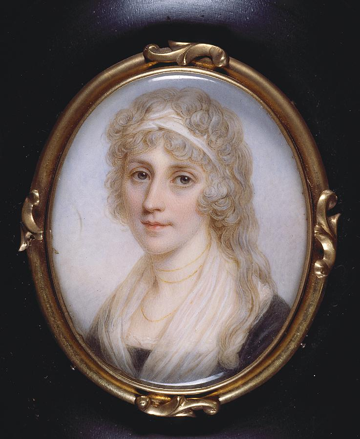 Portrait of a lady (with a cream headband and sheer drapery around neckline)