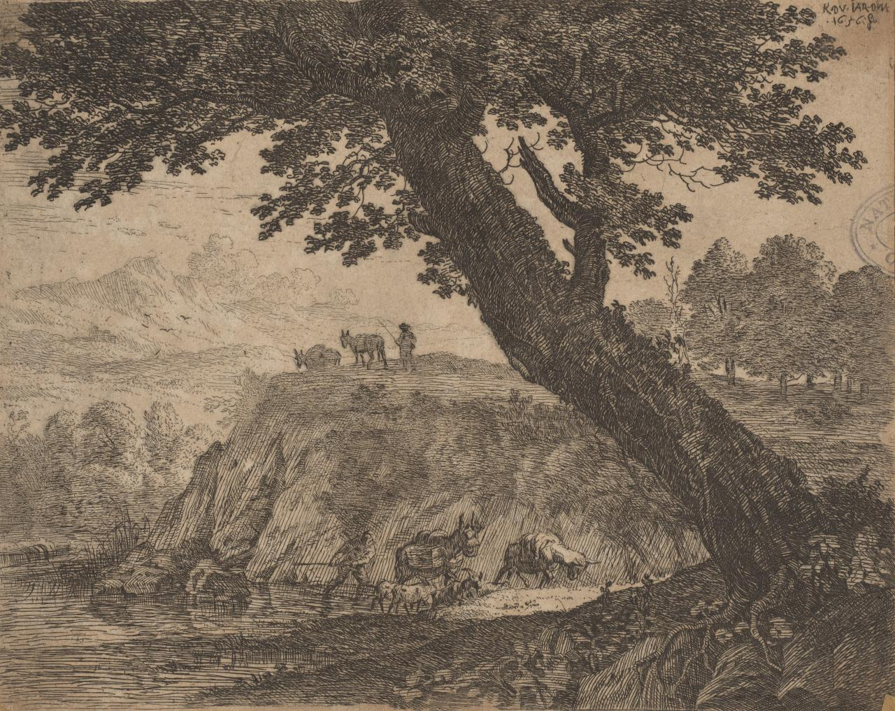 Landscape with mules and goats leaving stream