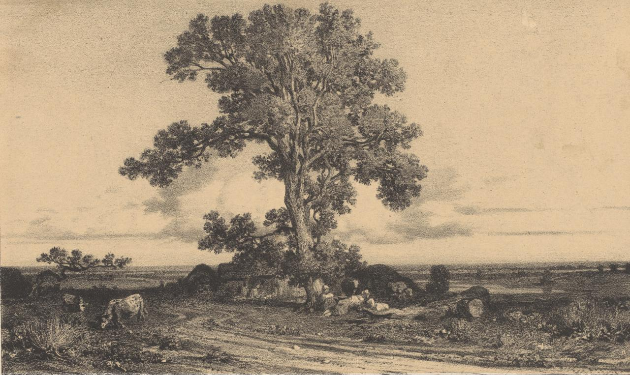 Landscape - Trees with figures and cattle, buildings .......