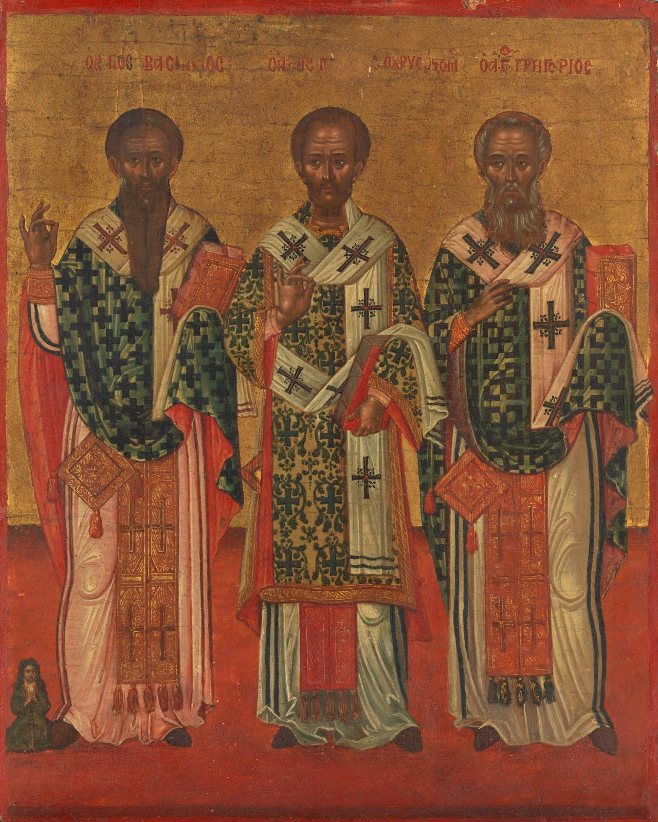 Saints Basil, Chrysostom and Gregory with a kneeling donor