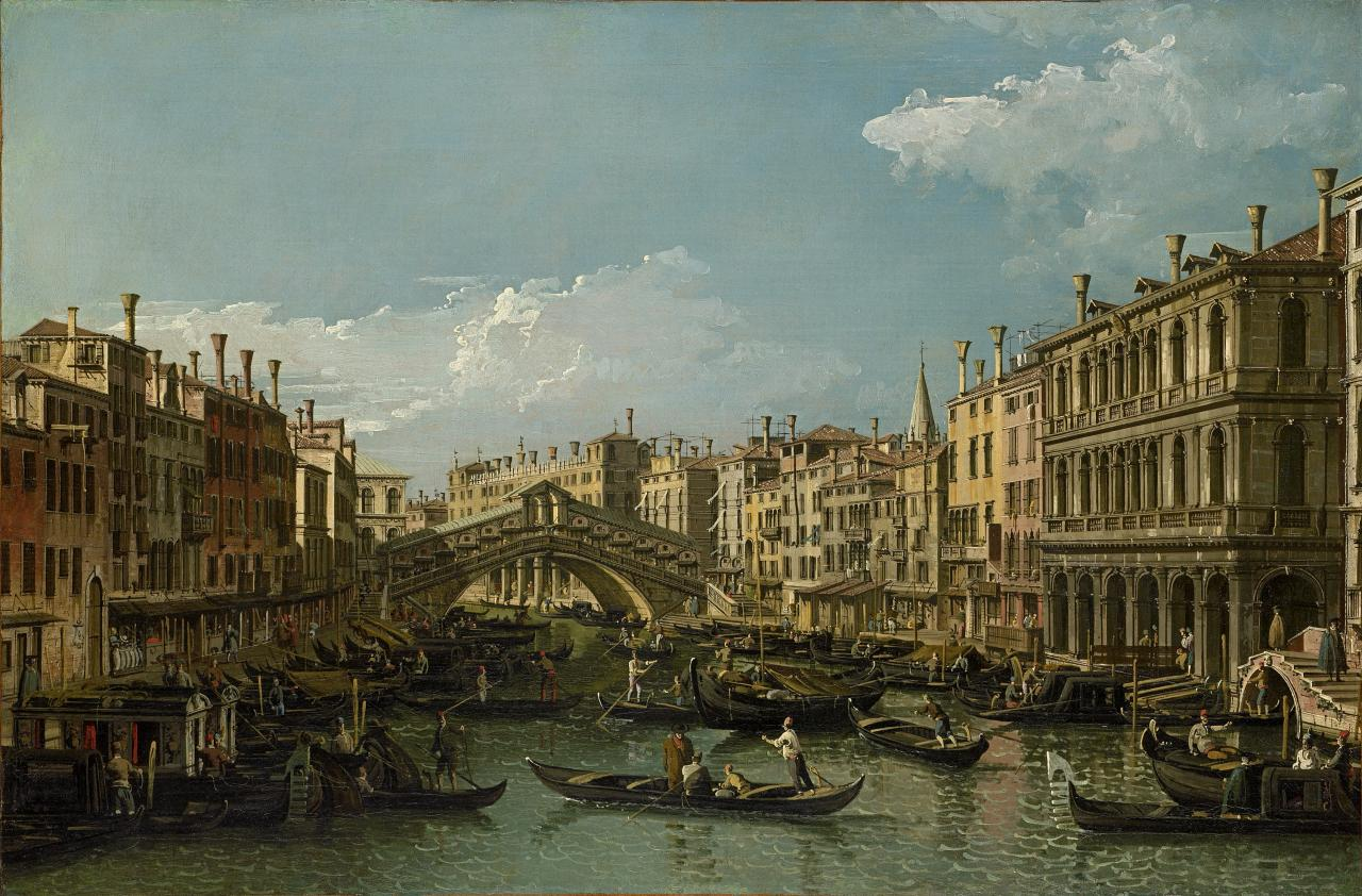 Grand Canal looking north-east to the Rialto Bridge