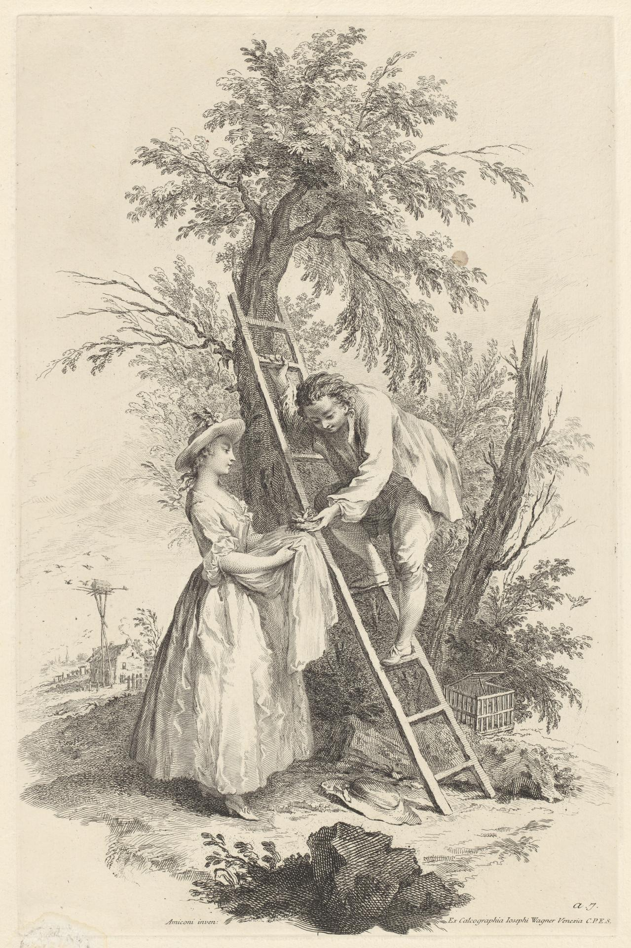 Air: Peasant handing a nest with birds to a girl