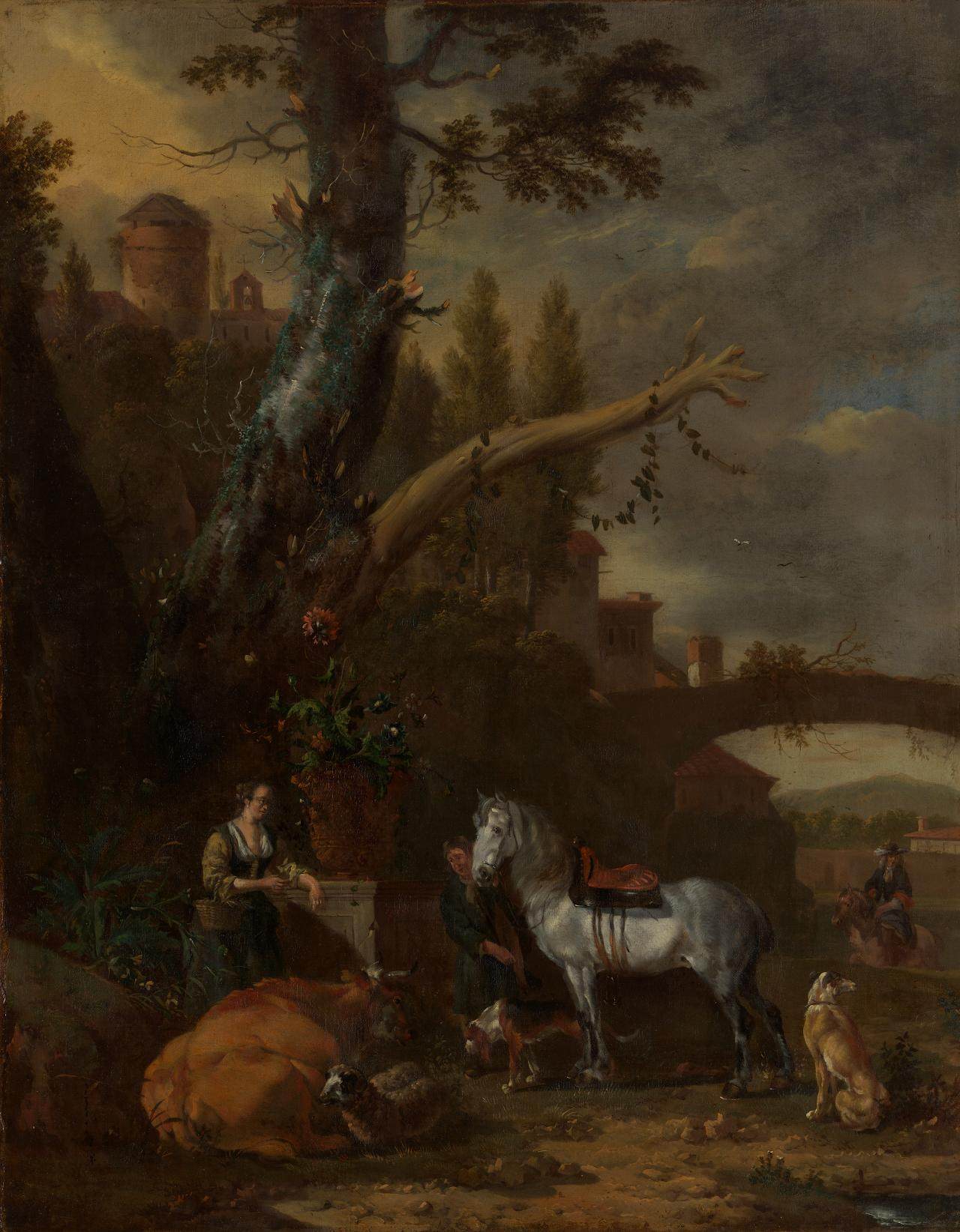 An Italian landscape with figures, a horse and a cow