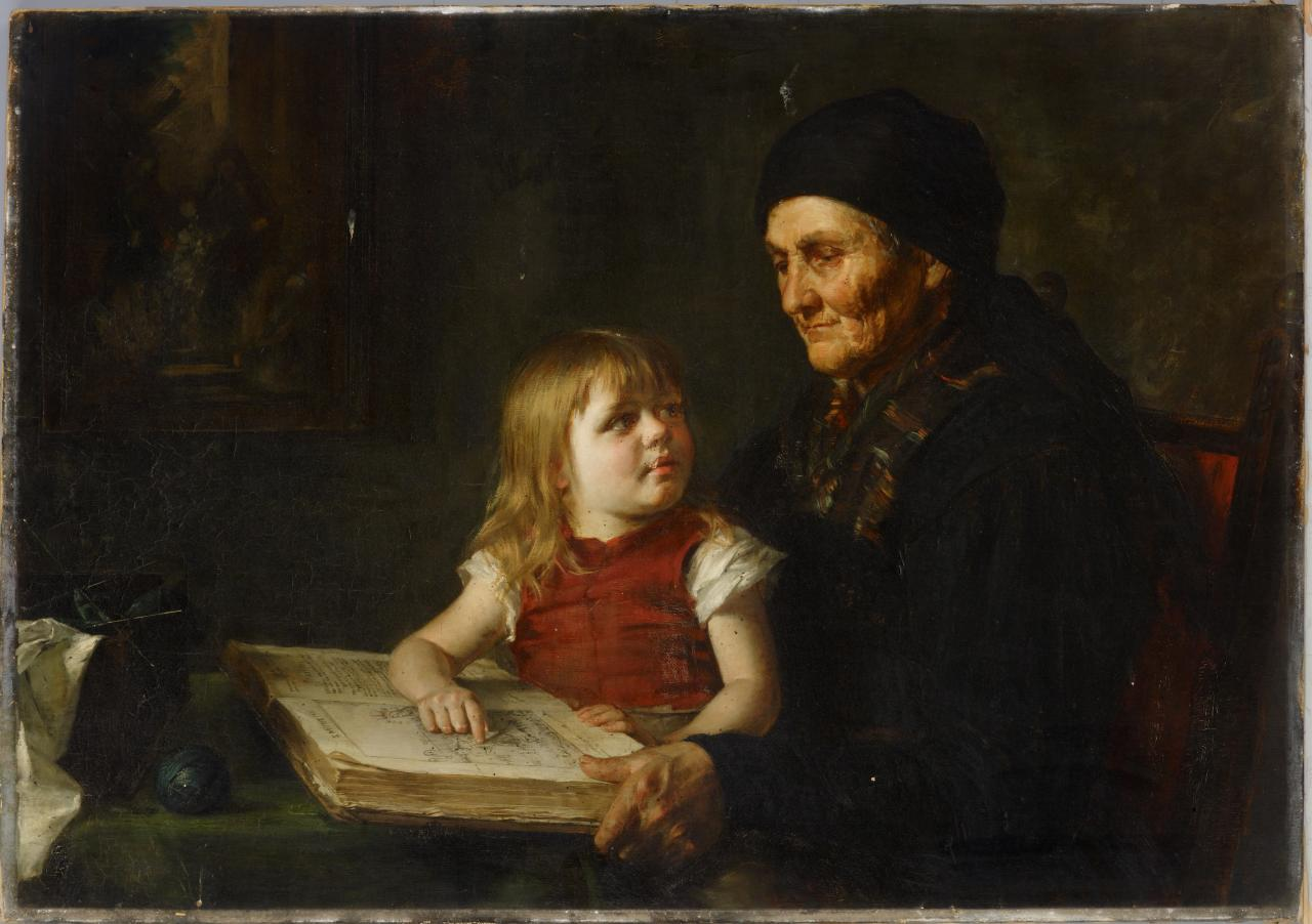 Grandmother's reading lesson
