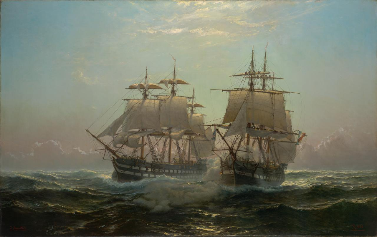 Fight between the ship of the line, Jupiter and the French frigate, Preneuse, in the neighbourhood of Madagascar 11th October, 1799