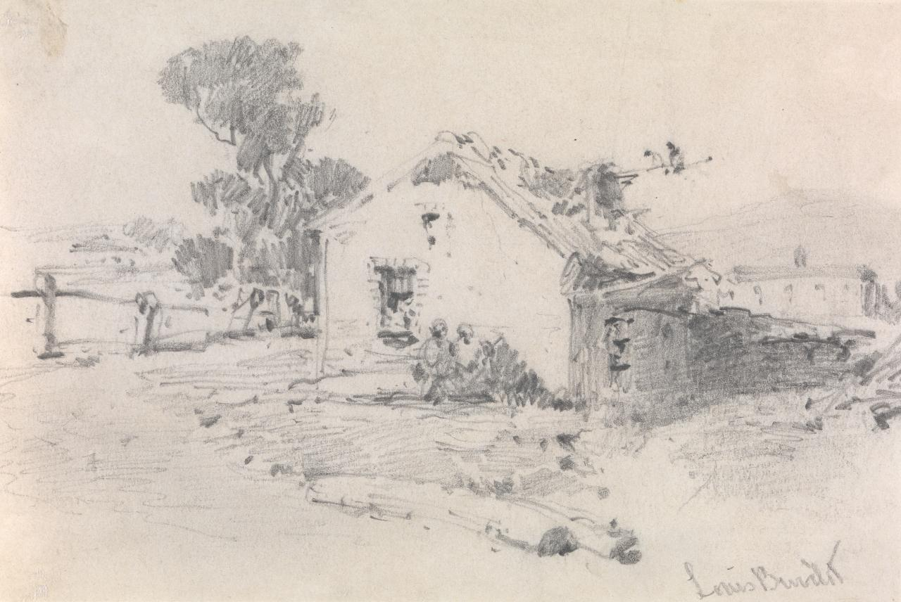 Cottage with figures