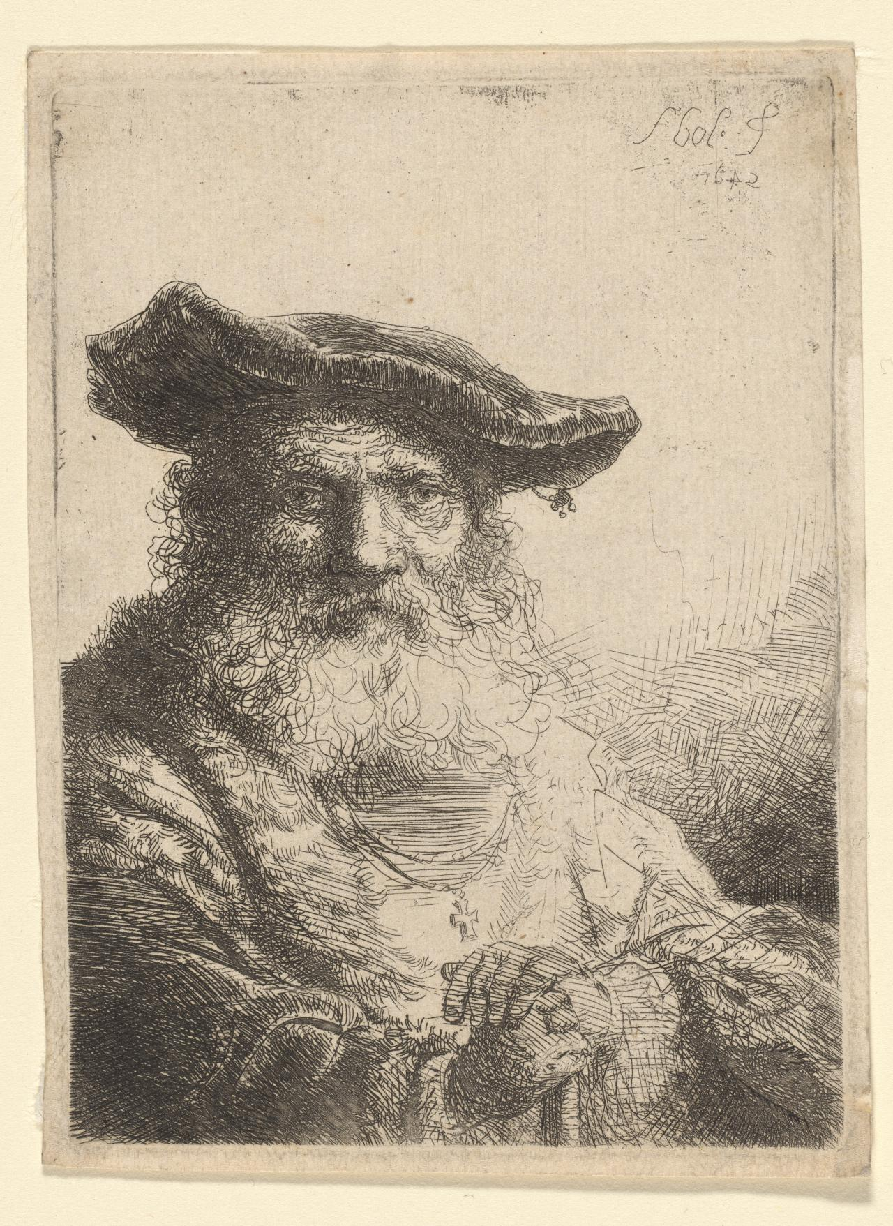 Old man with flowing beard and velvet cap