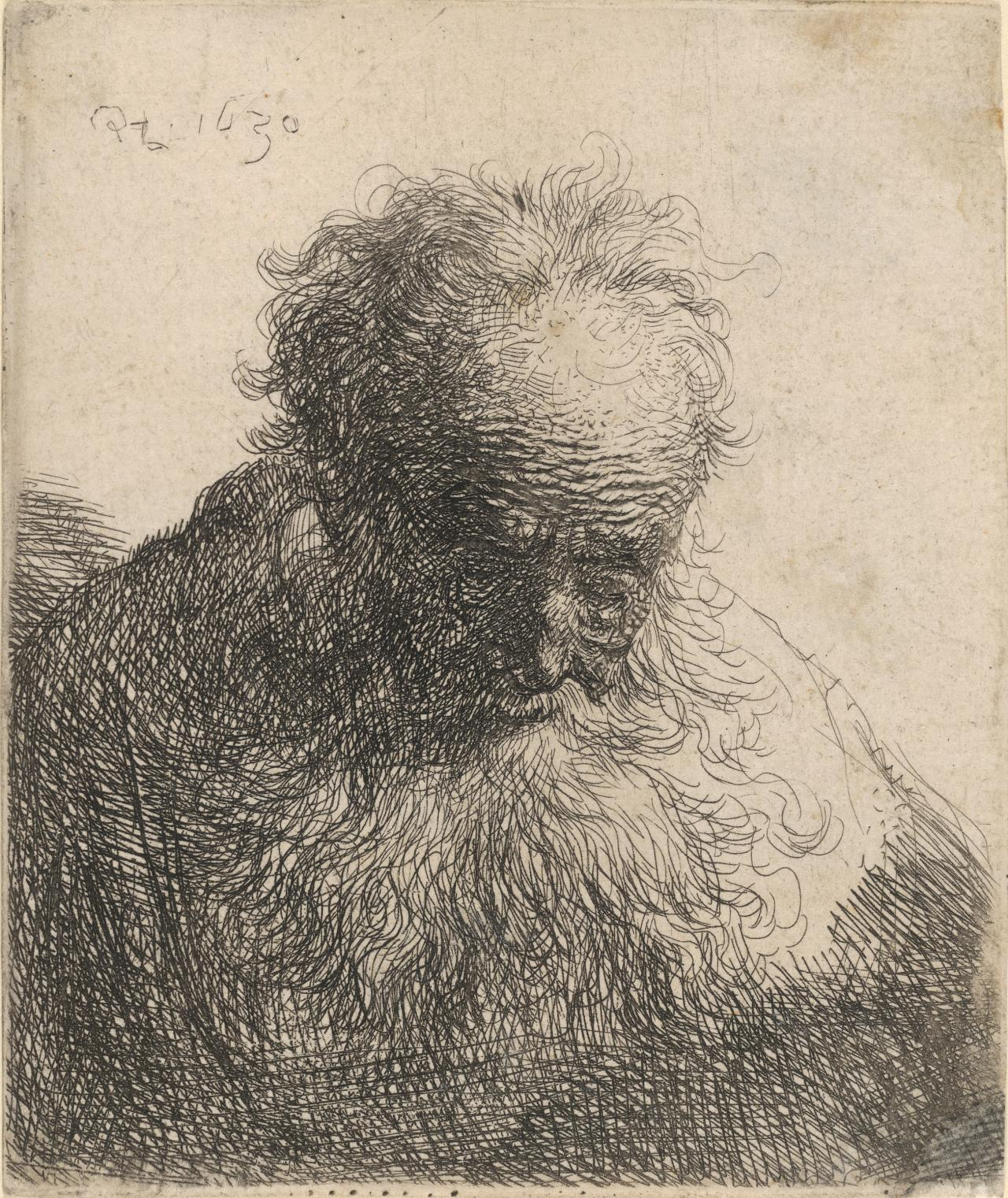Bust of an old man with flowing bear: The head bowed forward: Left should unshaded
