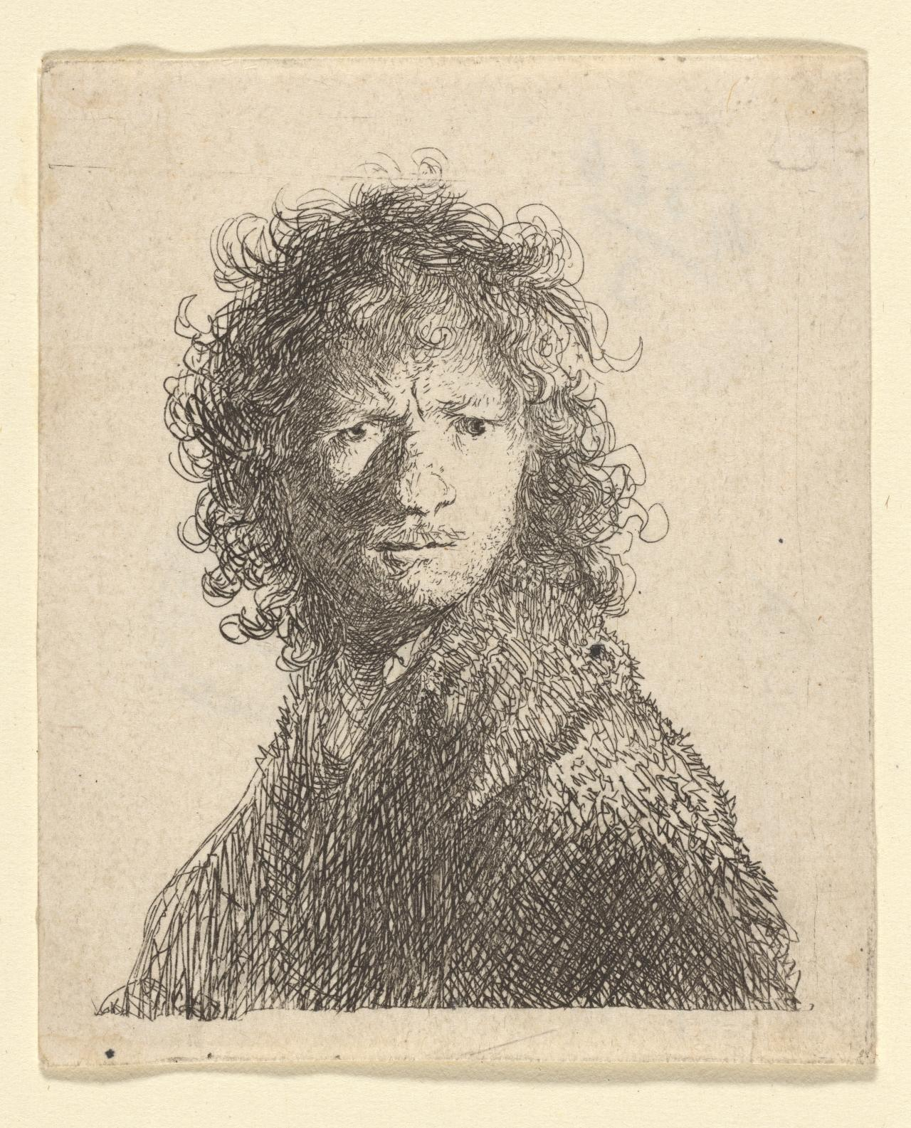 Rembrandt Bareheaded,In Sharp Light From R:Looking OverHis Shoulder