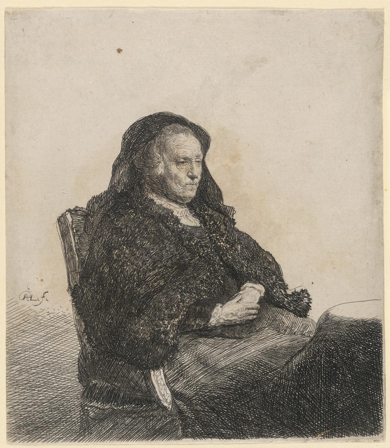 The artist's mother, seated at a table: Looking right: Three-quarter length