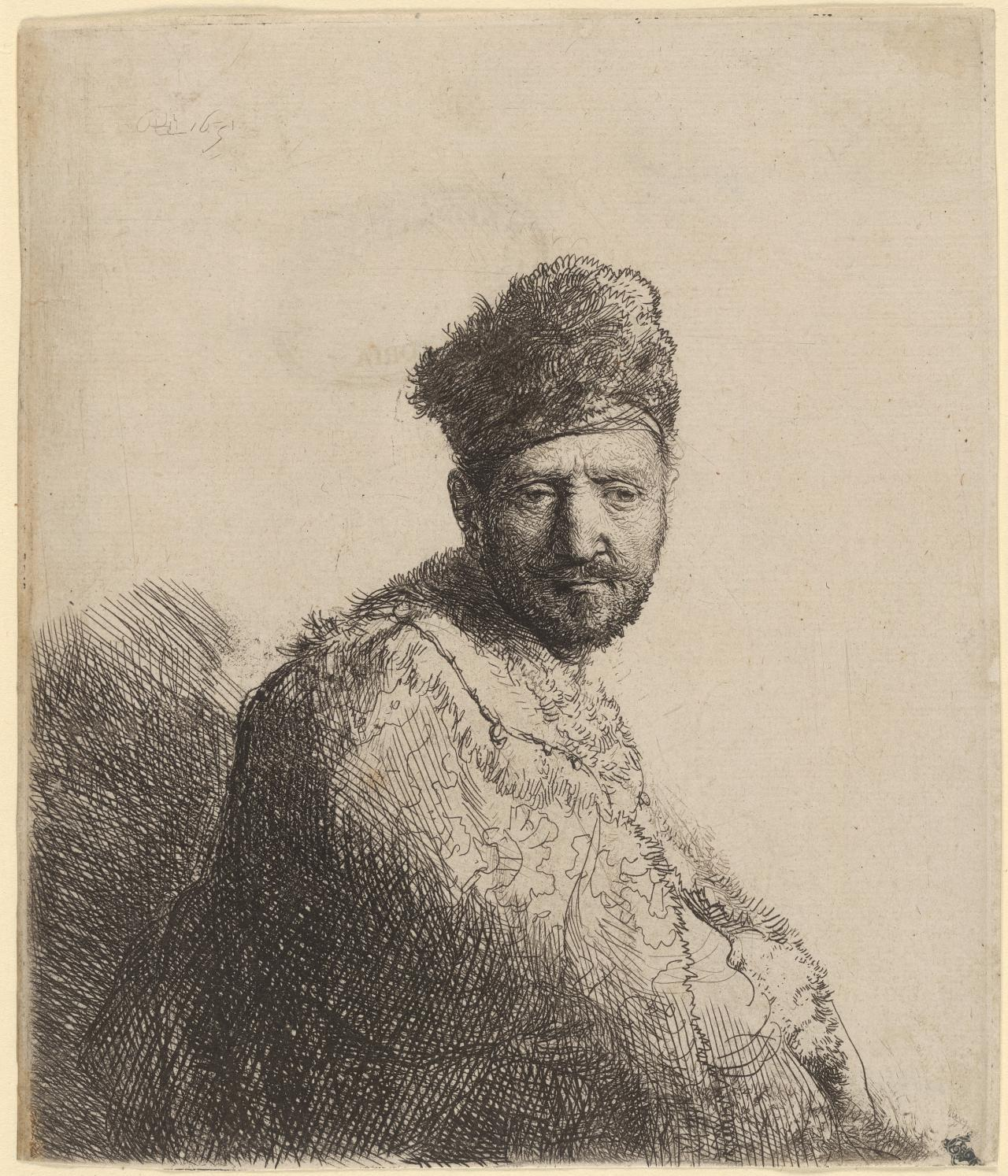 Bearded man in a furred oriental cap and robe