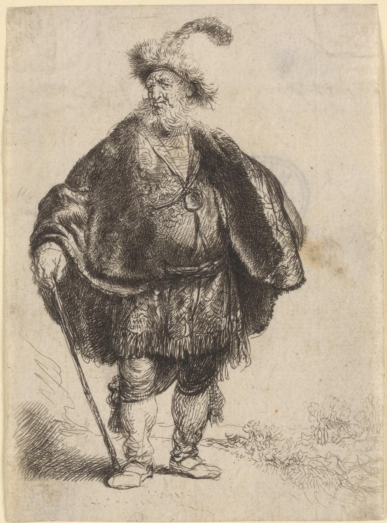 Man Standing In Oriental Costume and Plumed Fur Cap