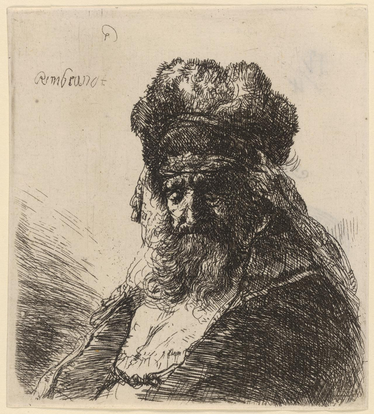 Old Bearded Man in a High Fur Cap, with Closed Eyes