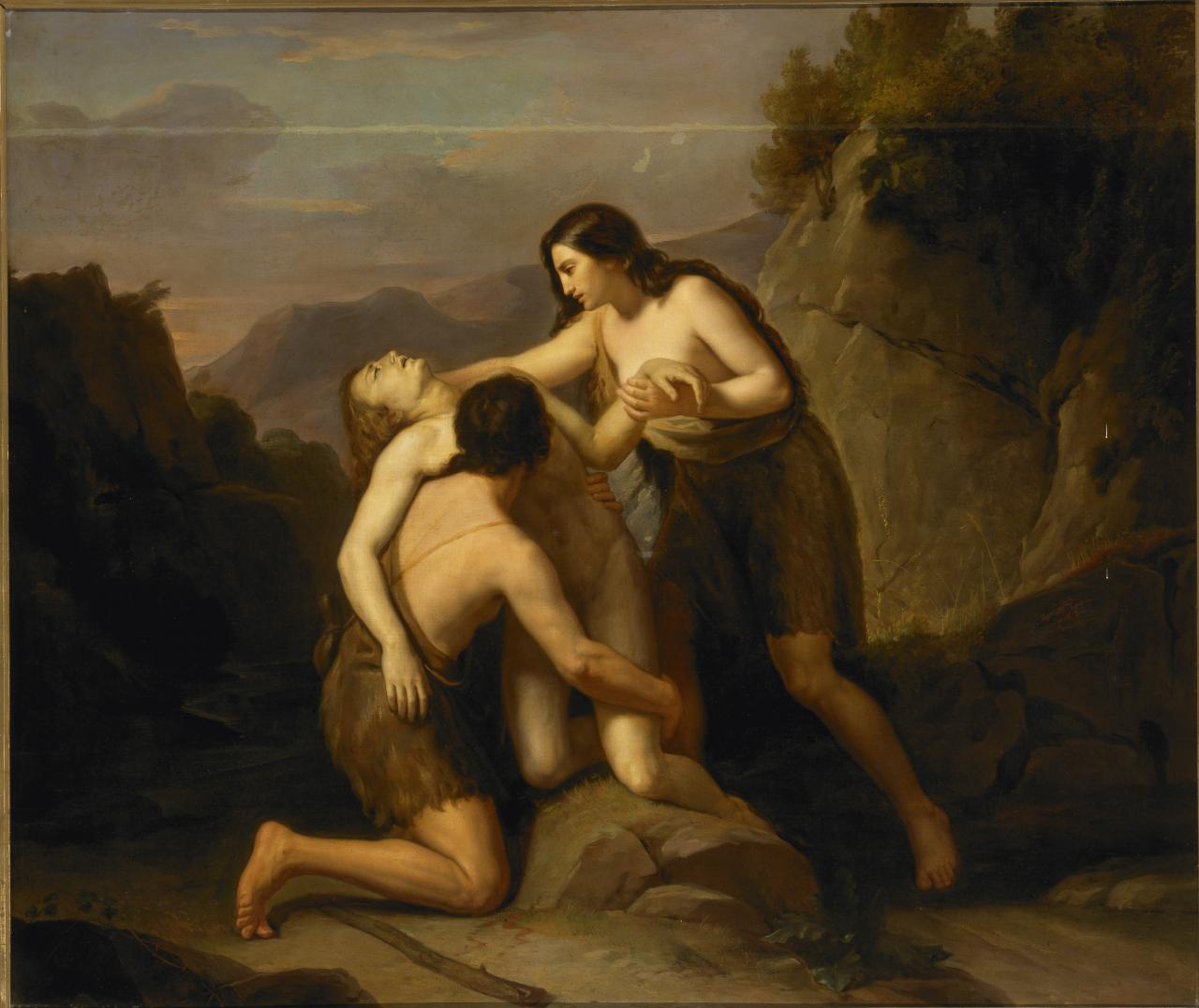 Adam and Eve finding the dead body of Abel