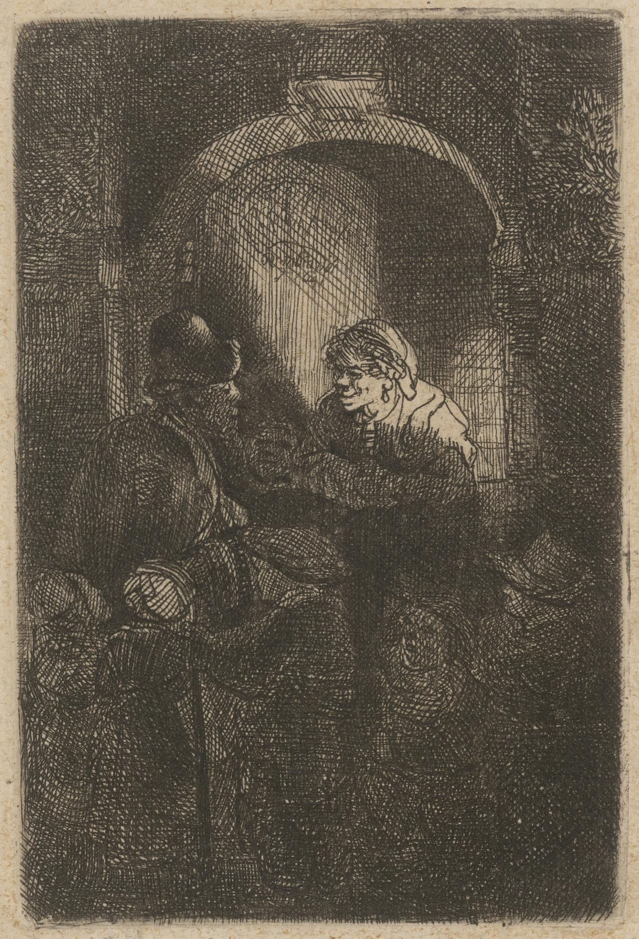 Woman at a door-hatch talking to a man and children (The schoolmaster)