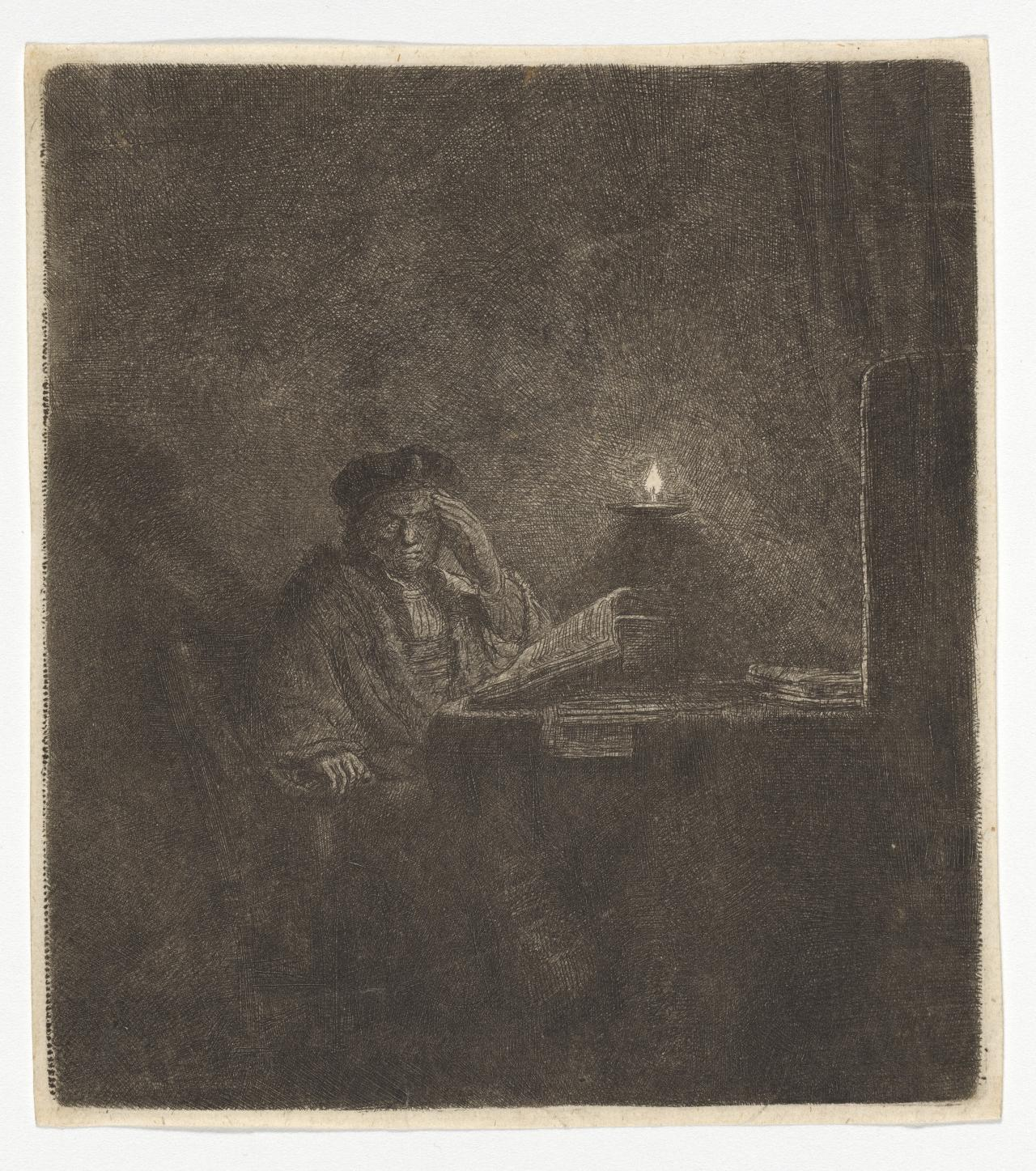 Student at a Table by Candle Light