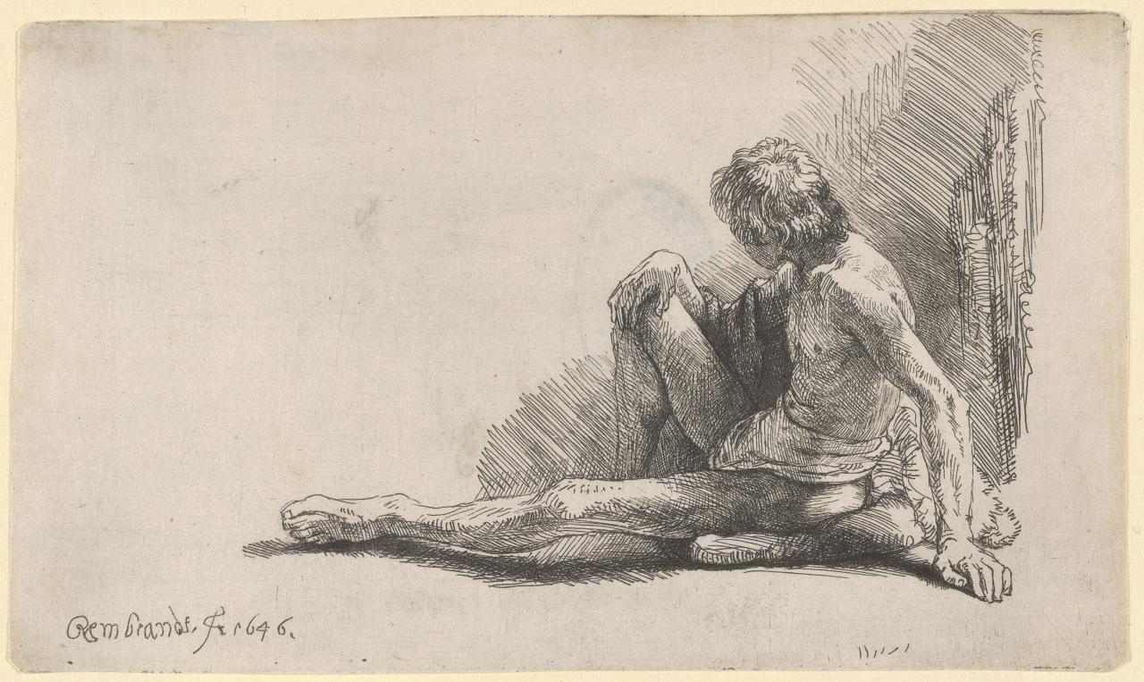 Study from the nude: man seated on the ground with one leg extended