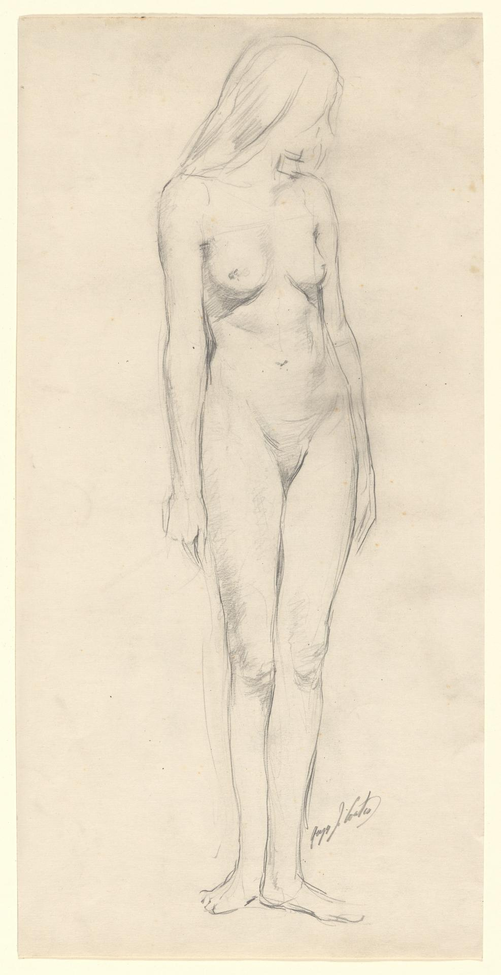 Nude woman standing