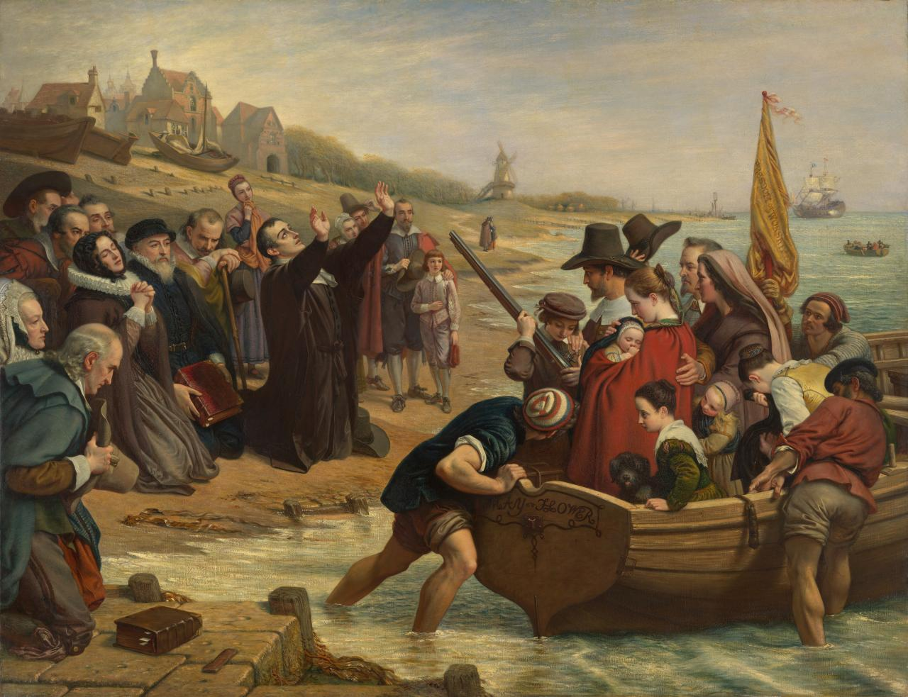 The Pilgrim Fathers: Departure of a Puritan family for New England