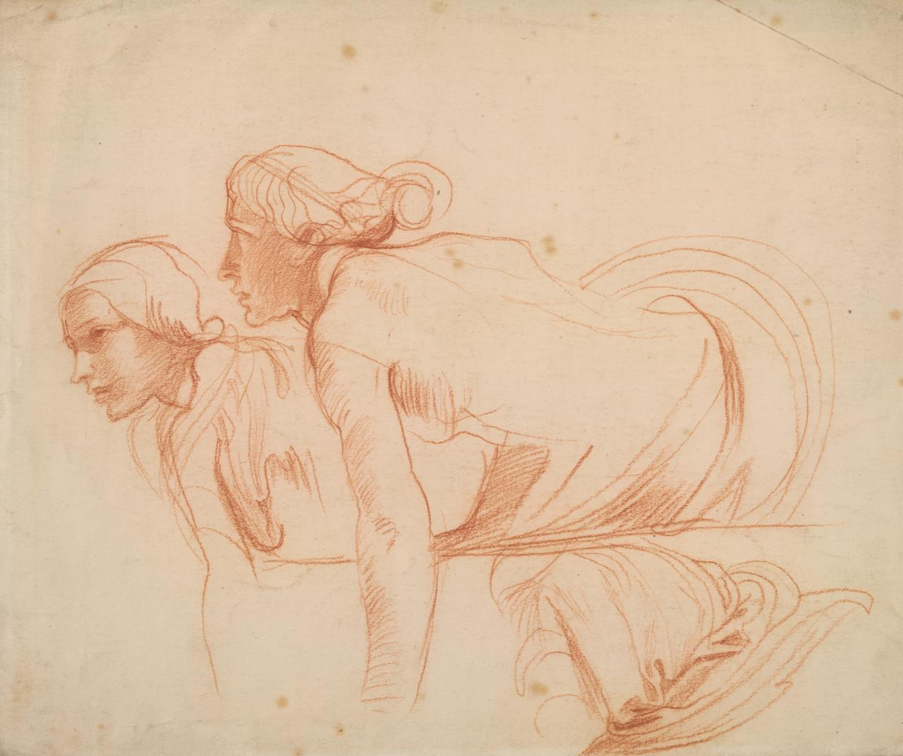 Two crouching figures bending forward