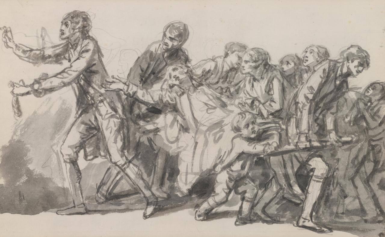Figure group with man carried on a stretcher