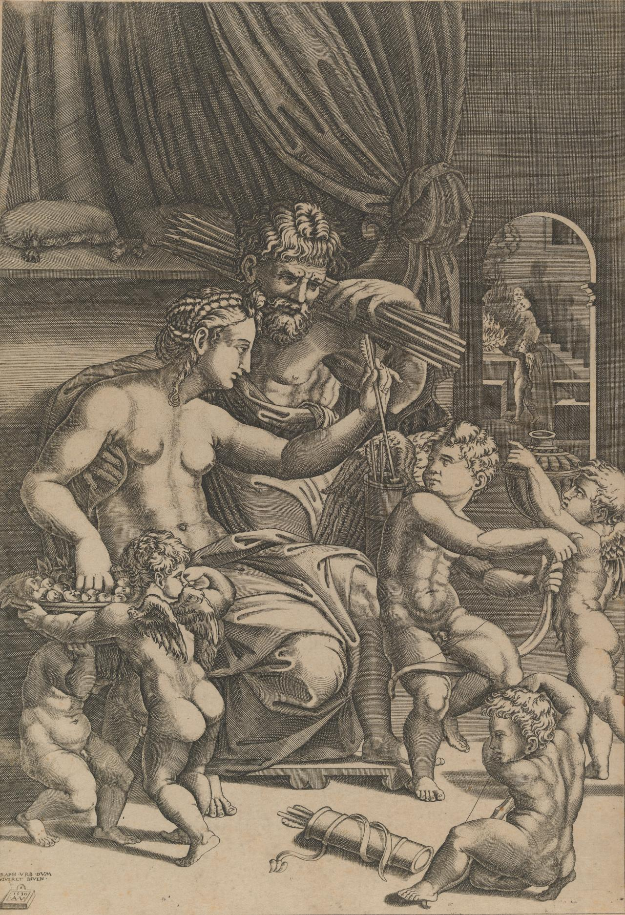Venus and Vulcan surrounded by cupids