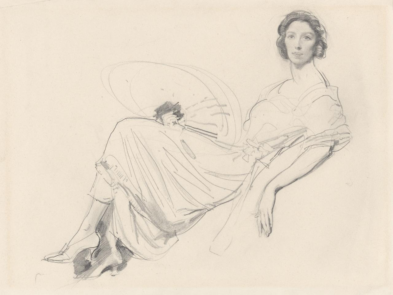 Woman reclining (with fan)