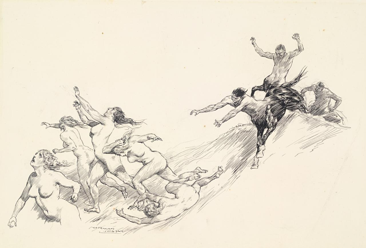 Satyrs pursuing nymphs
