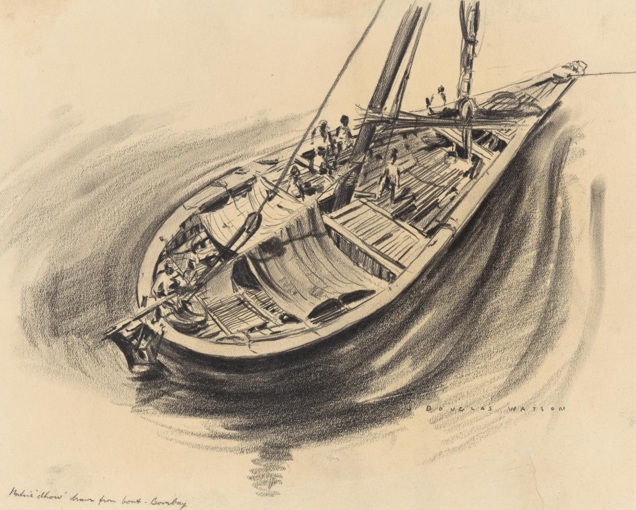 Native dhow drawn fron boat - Bombay