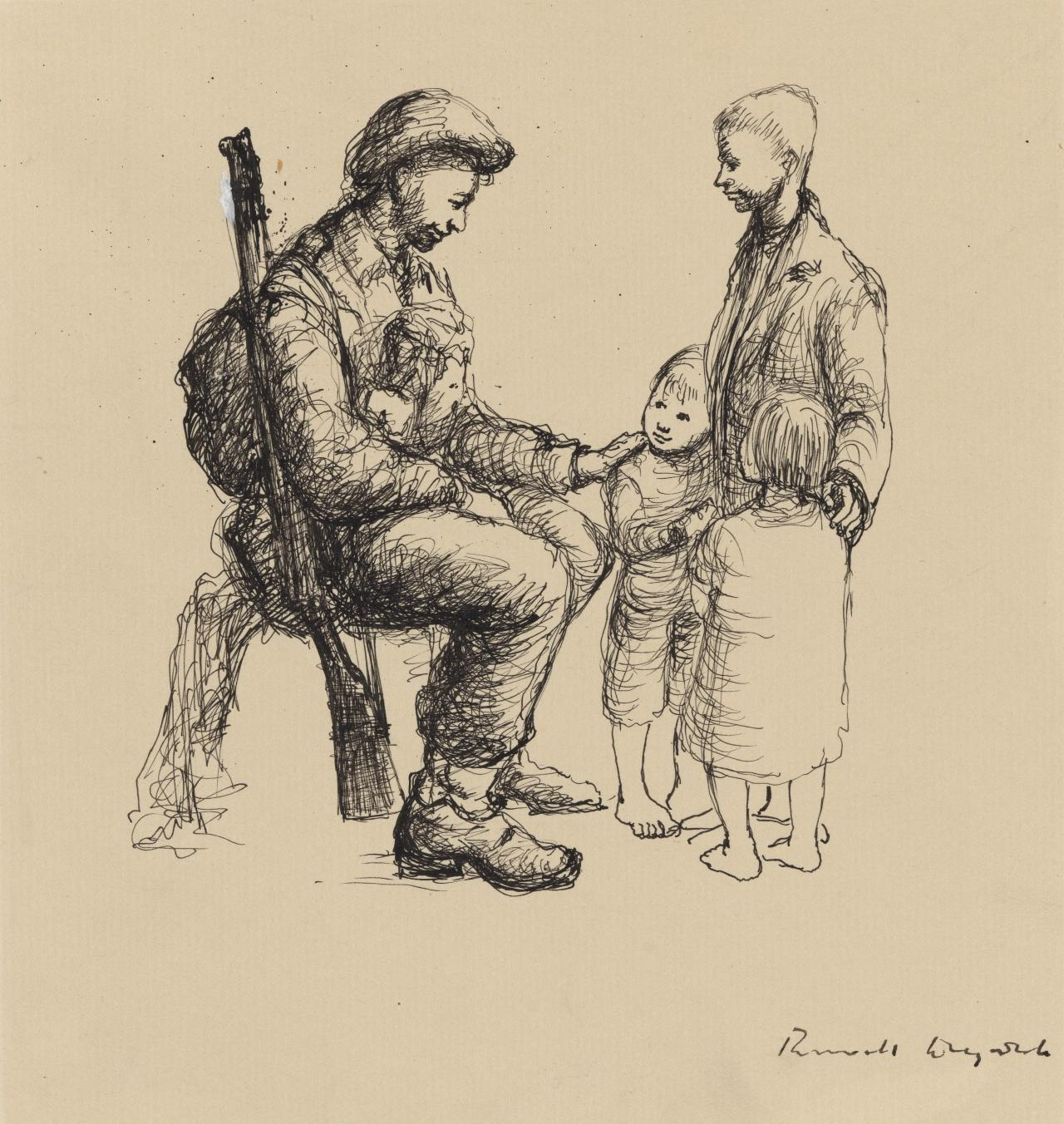 Soldier with three children
