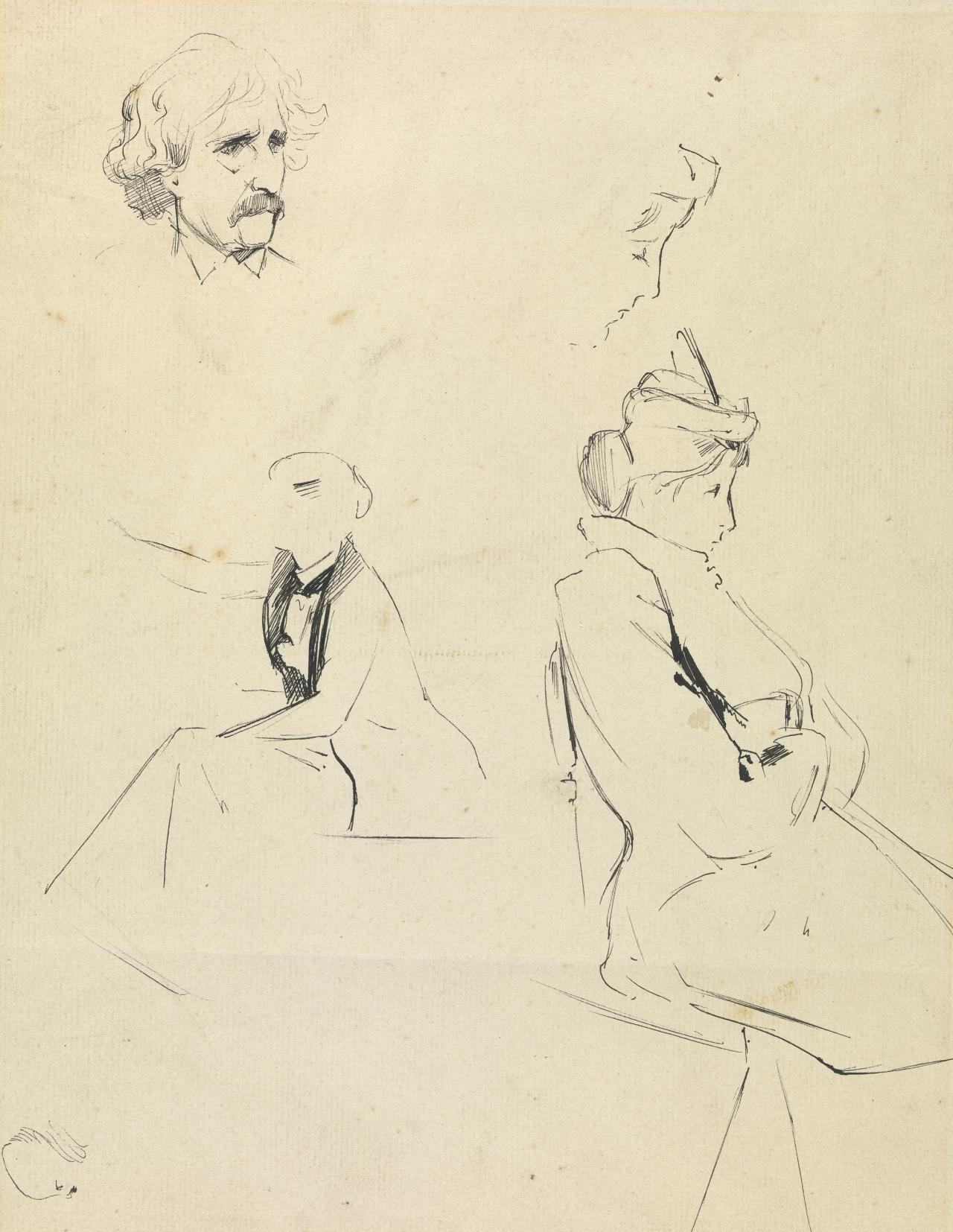 Studies of figures and a head