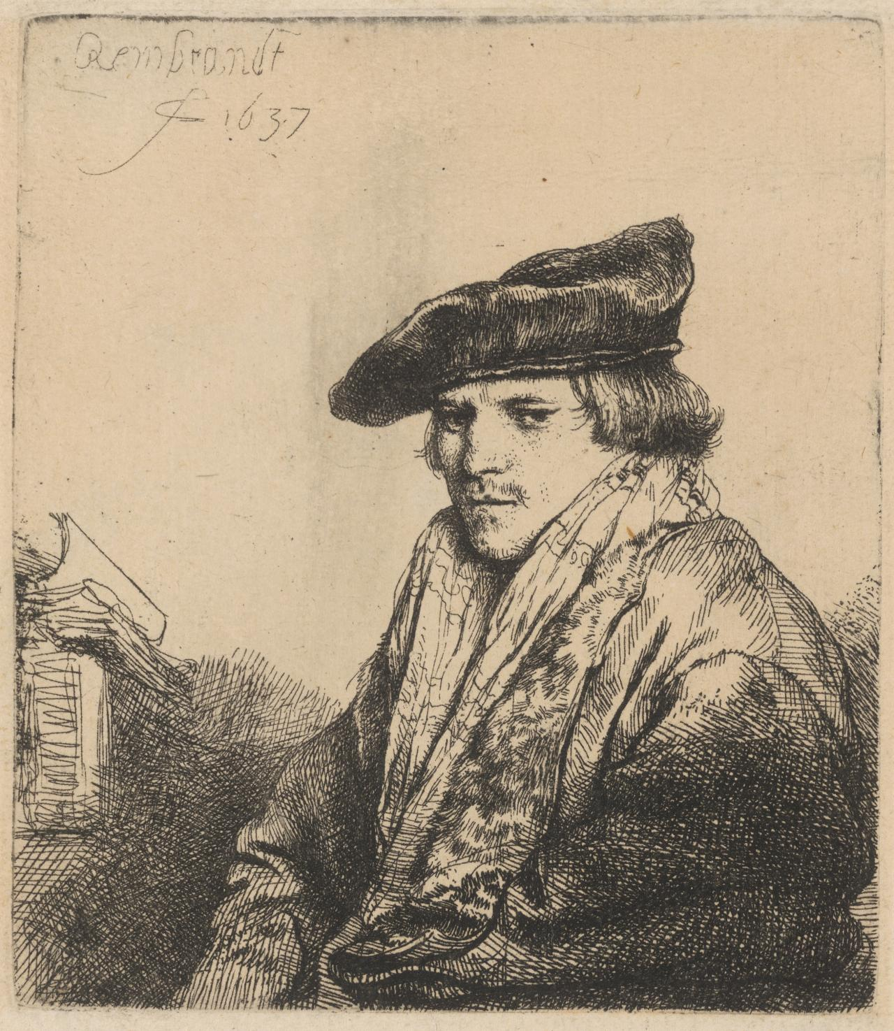 Young Man in a Velvet Cap with Books Beside Him
