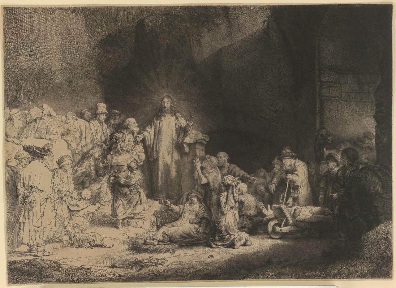 Christ with the sick around Him, receiving little chidren (The hundred guilder print)