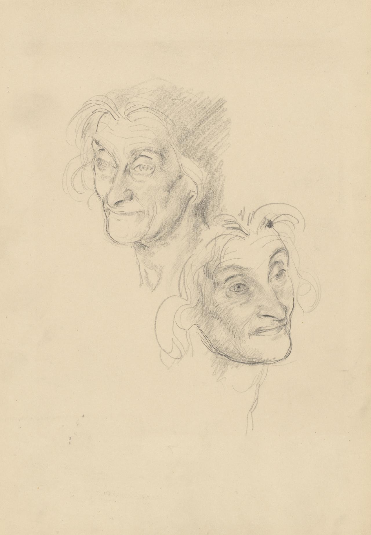 Two studies of an old woman's head