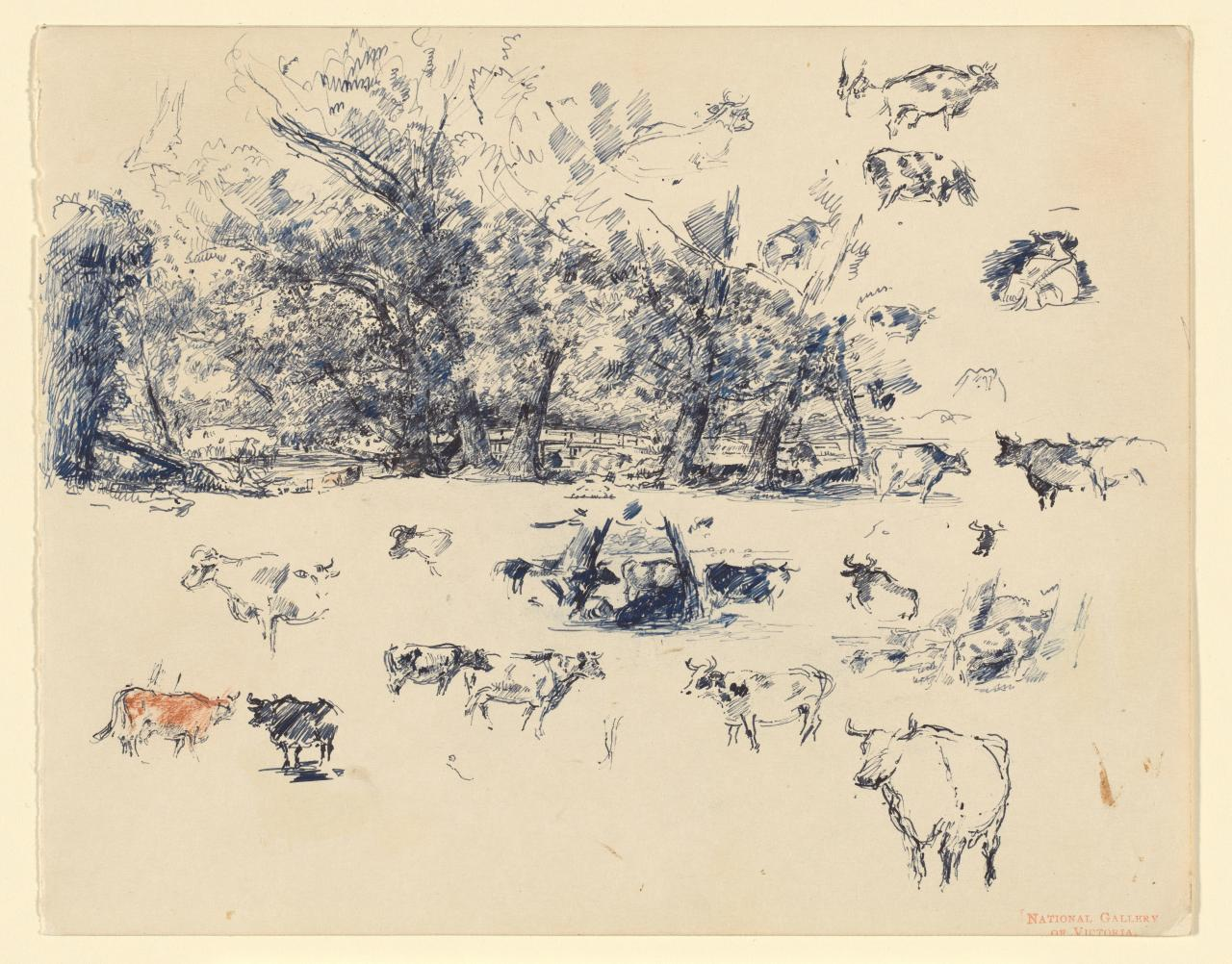 Sketch of cows and trees