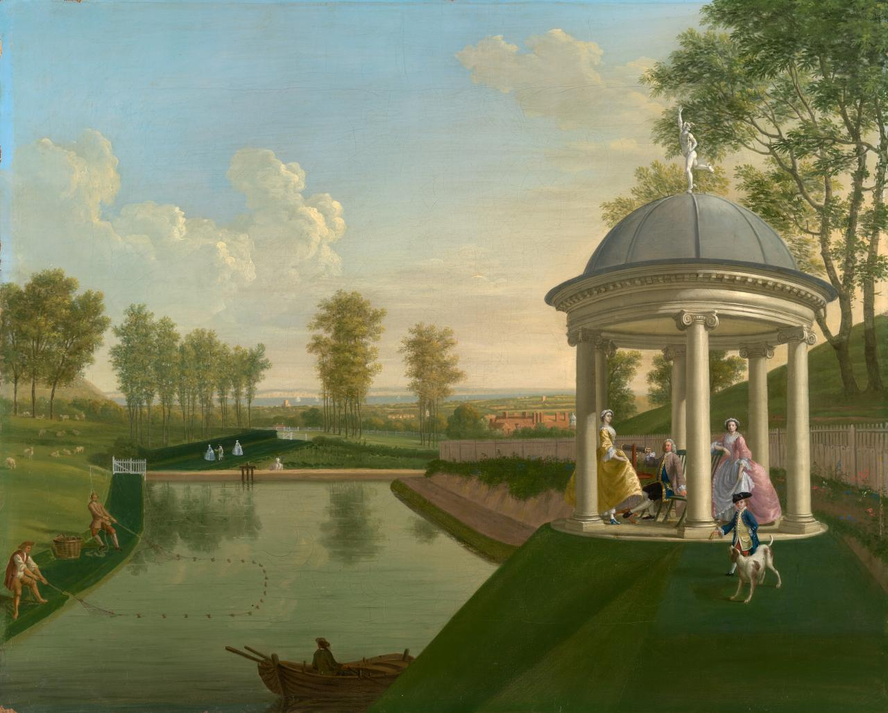 (The Brockman family at Beachborough - Temple pond with temple in right foreground)