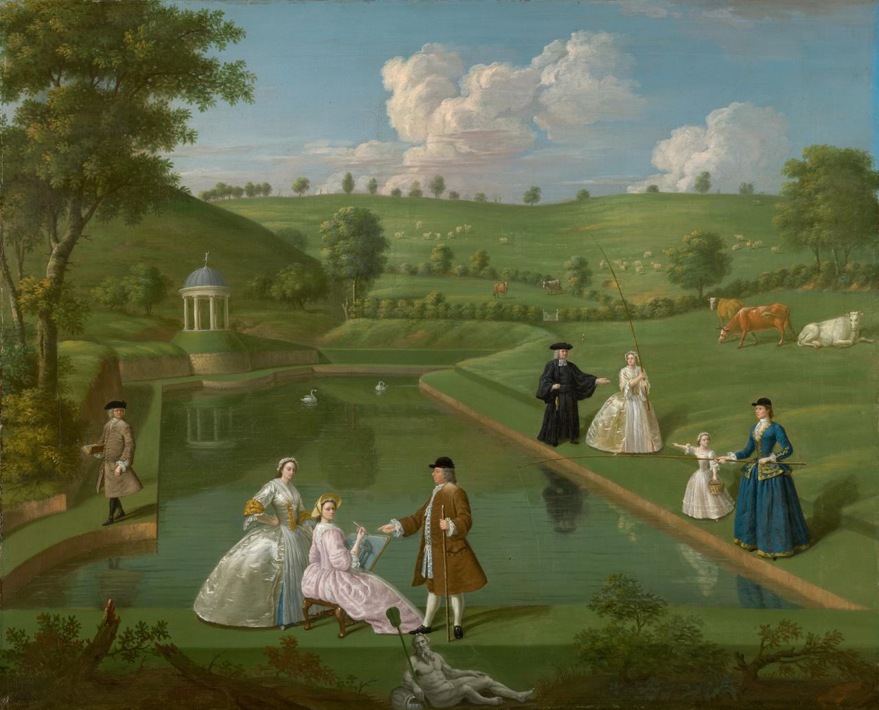 (The Brockman family at Beachborough - Temple pond with temple in the distance at left)