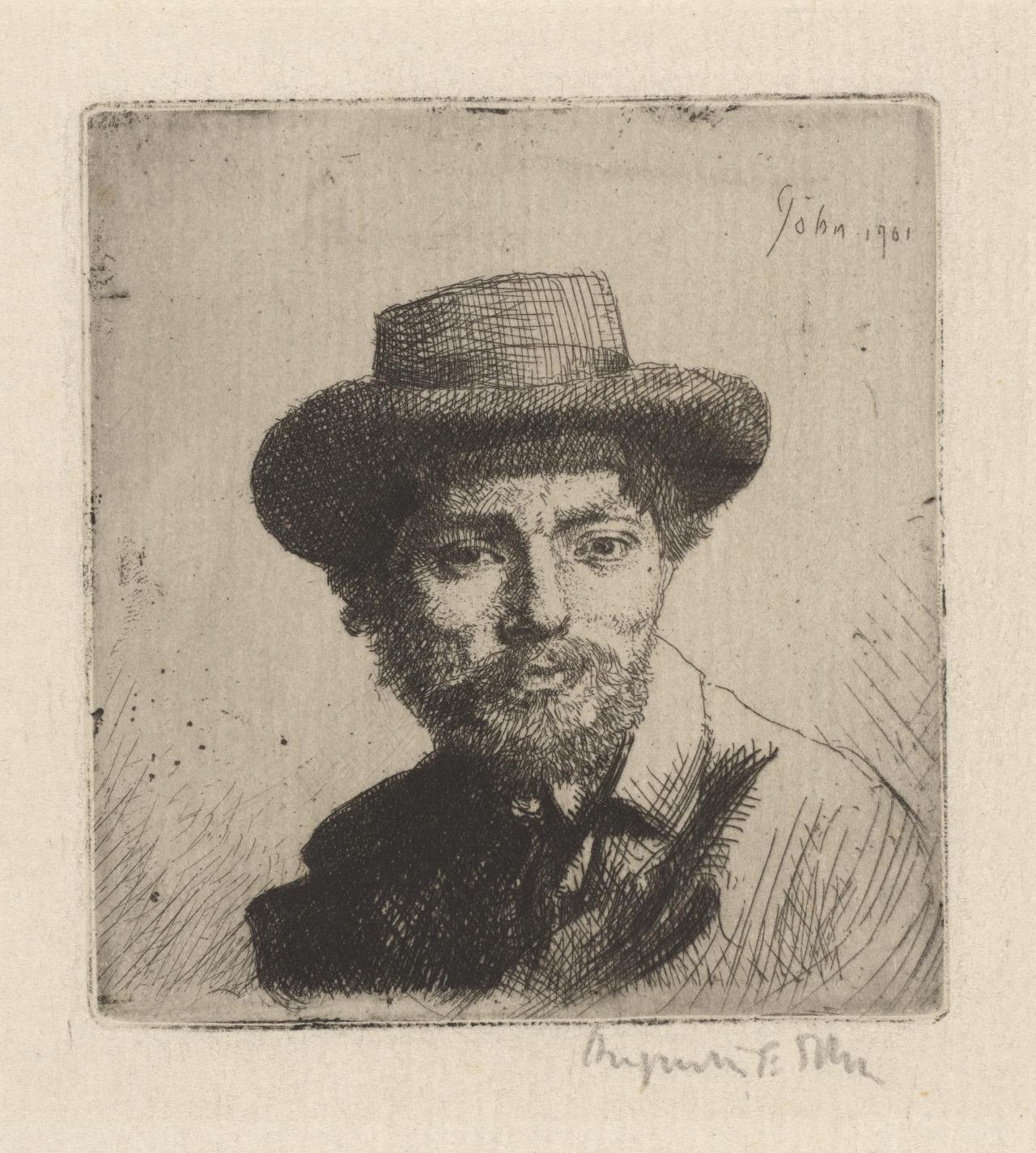 Portrait of the artists: Bust, full face, in a hat