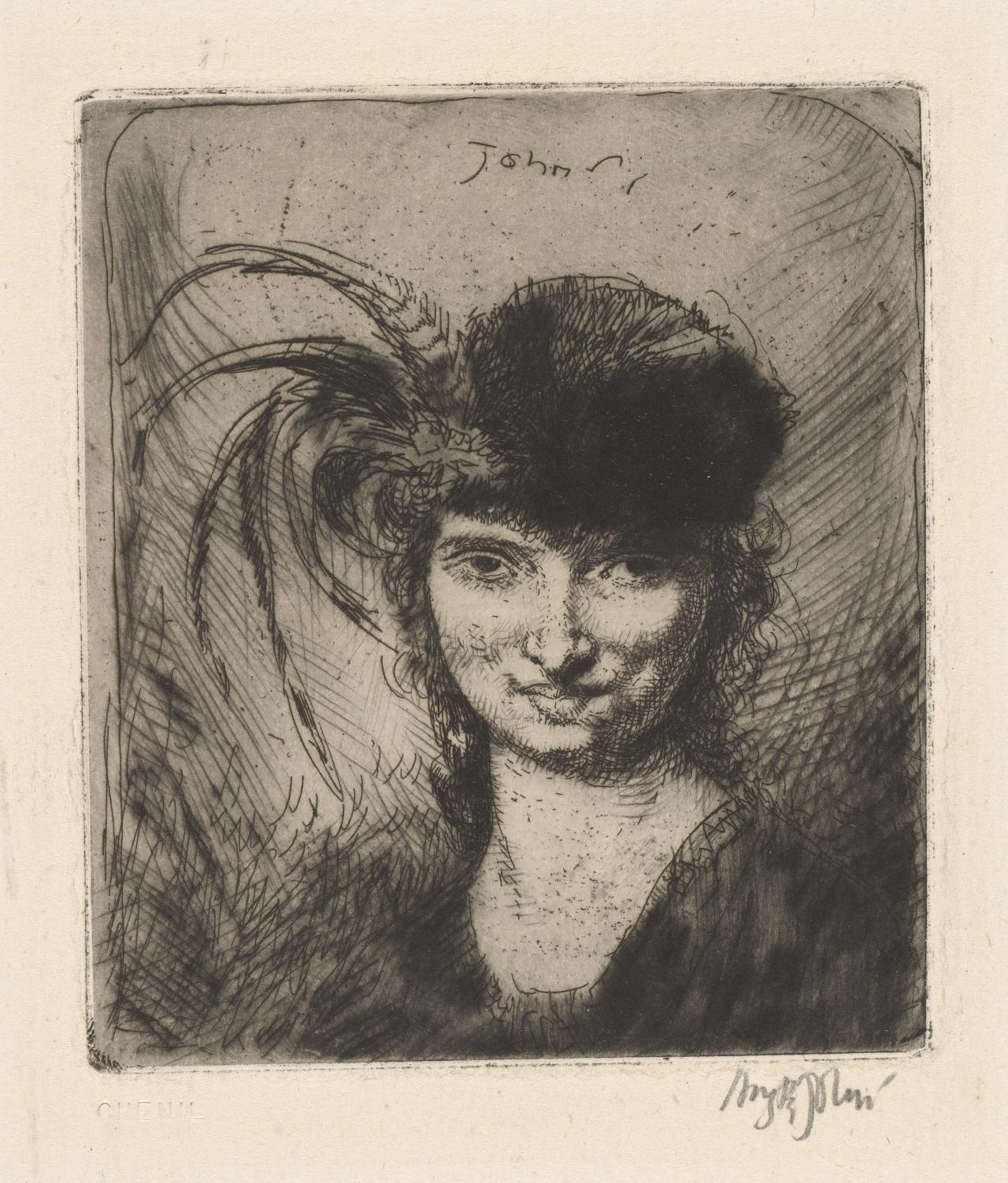 Girl smiling, in fur hat and feathers