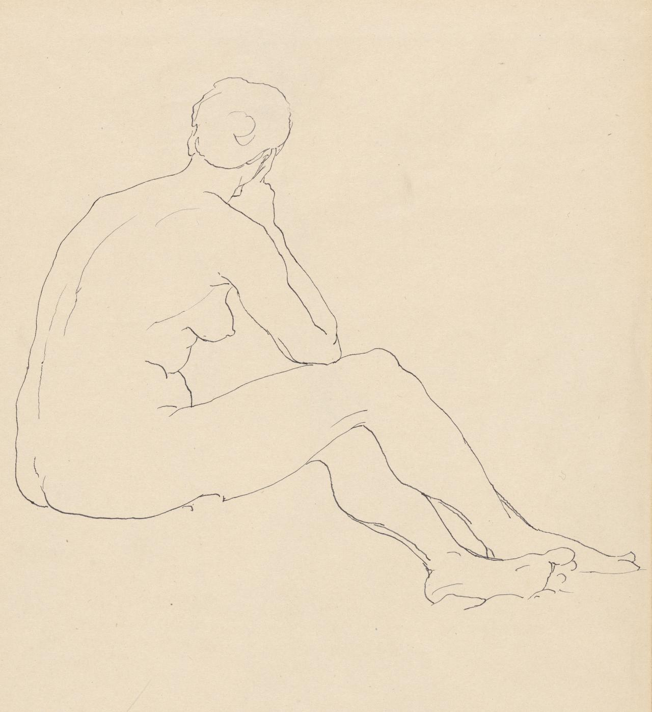 Study of nude woman seated