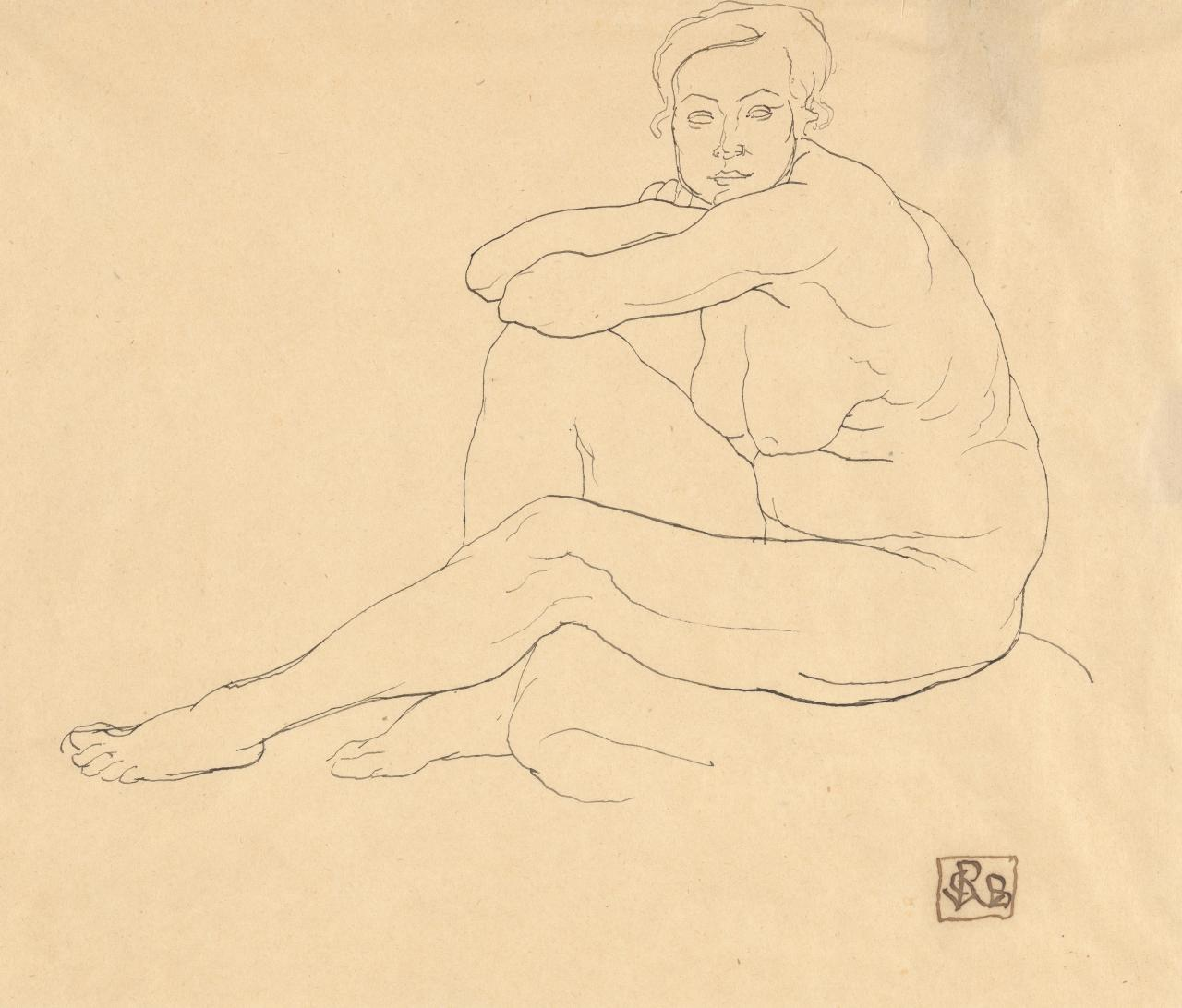 Study of a woman seated, to left