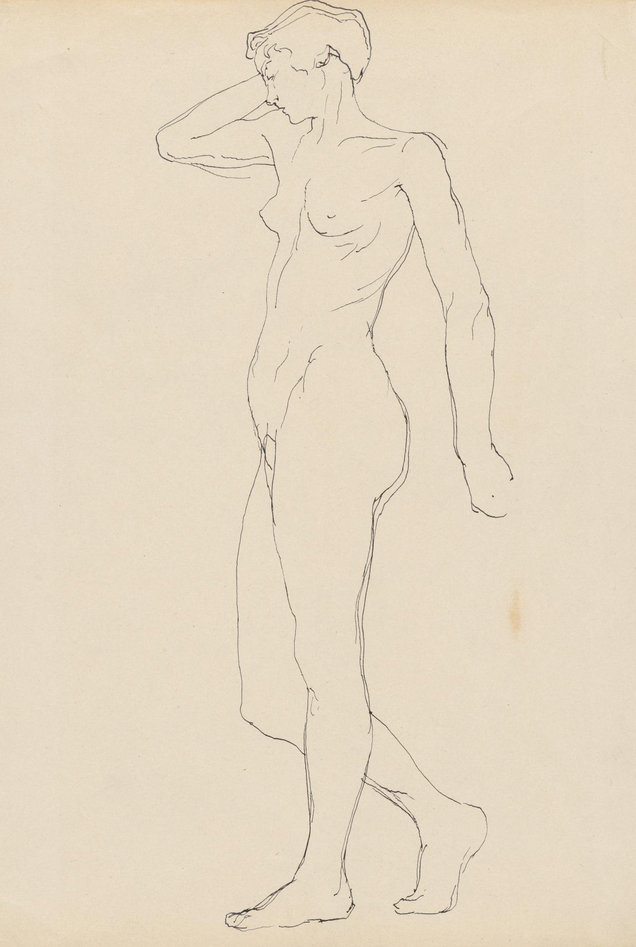 Study of standing female nude