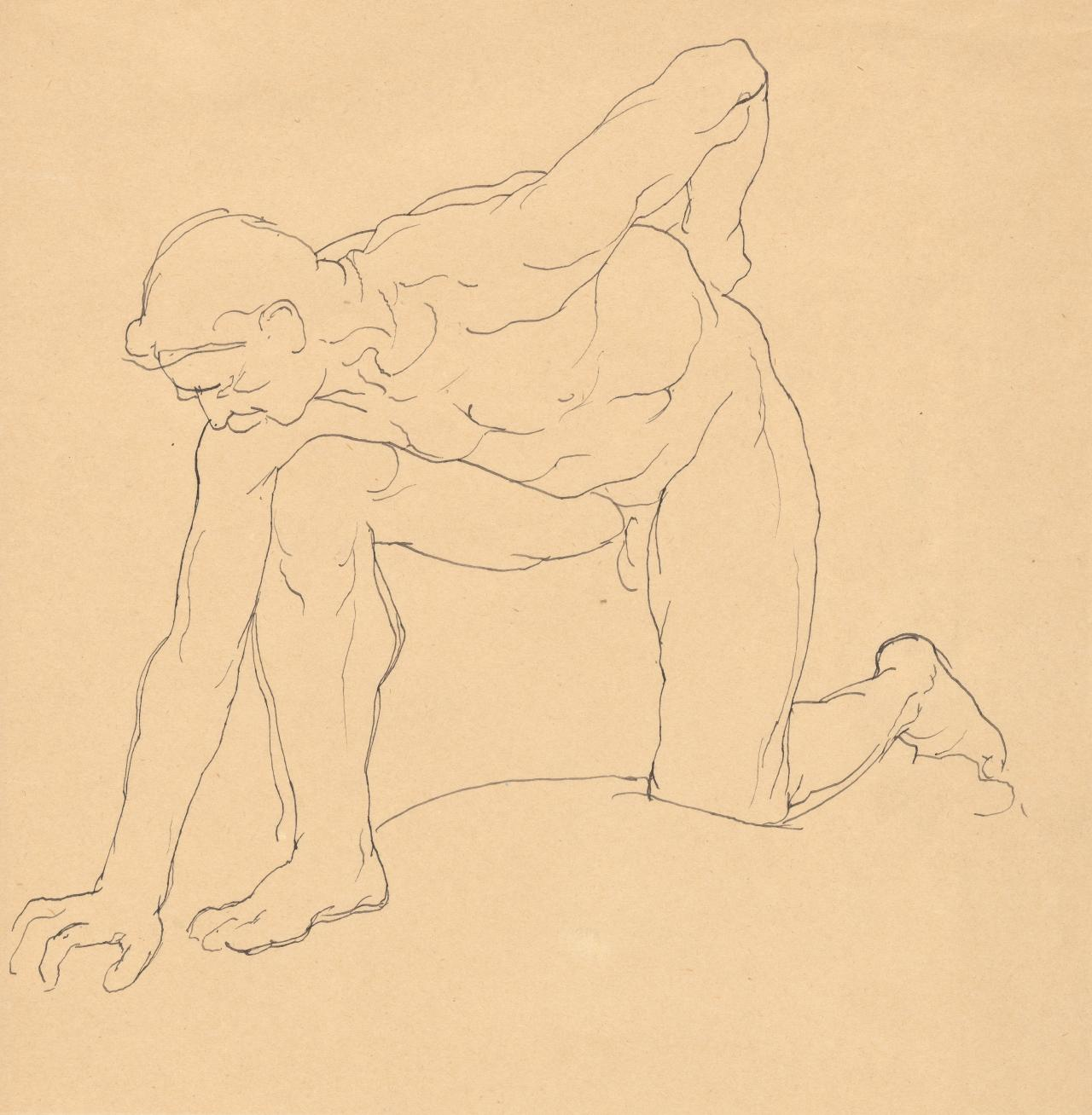 Study of man kneeling
