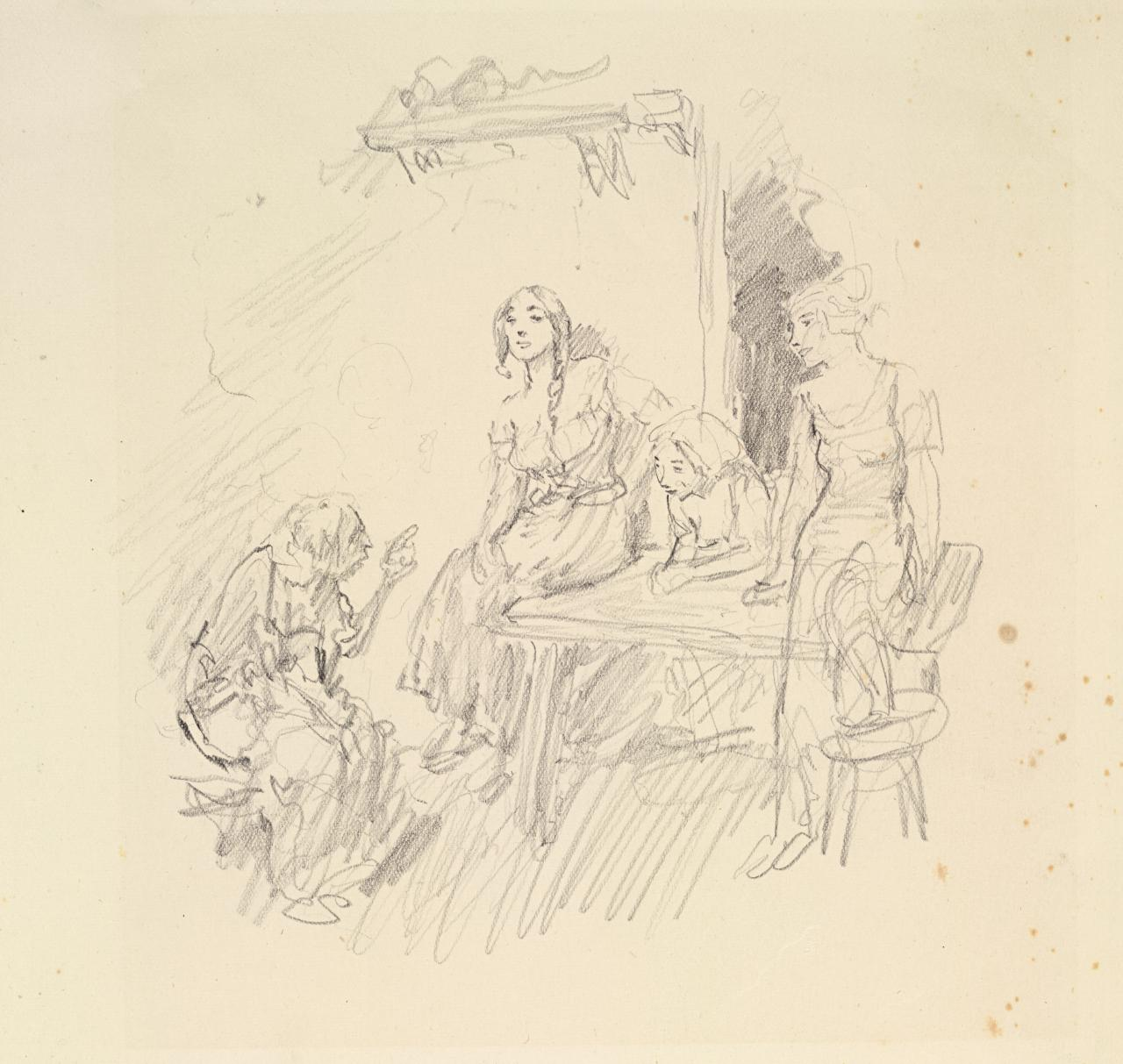 Figure study for illustration to the poem of Villon