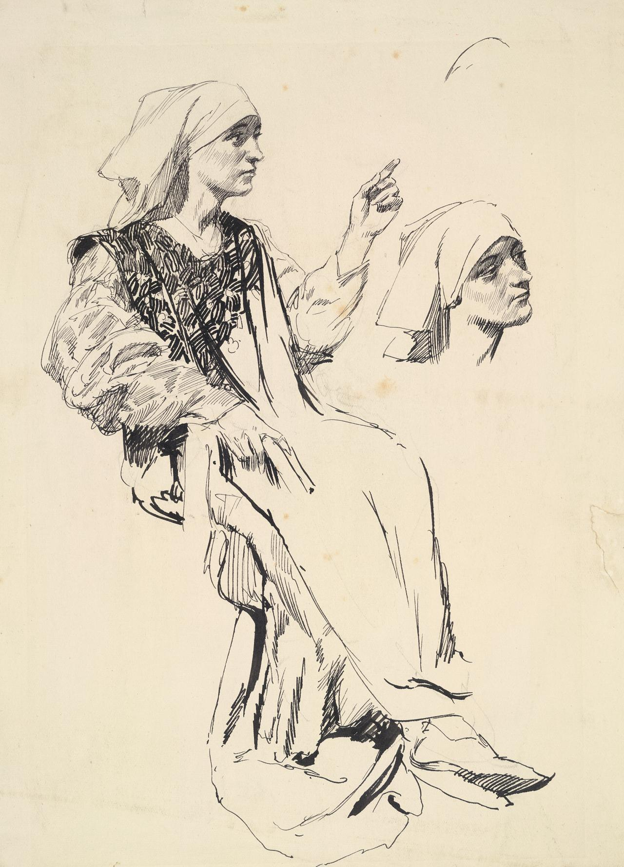 Woman seated (Figure study for illustration to the poem of Villon)