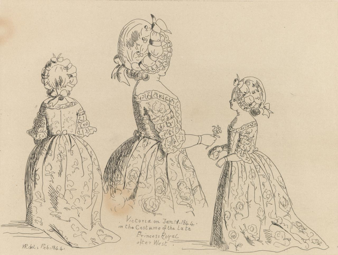 Three studies of the Princess Royal in eighteenth-century costume