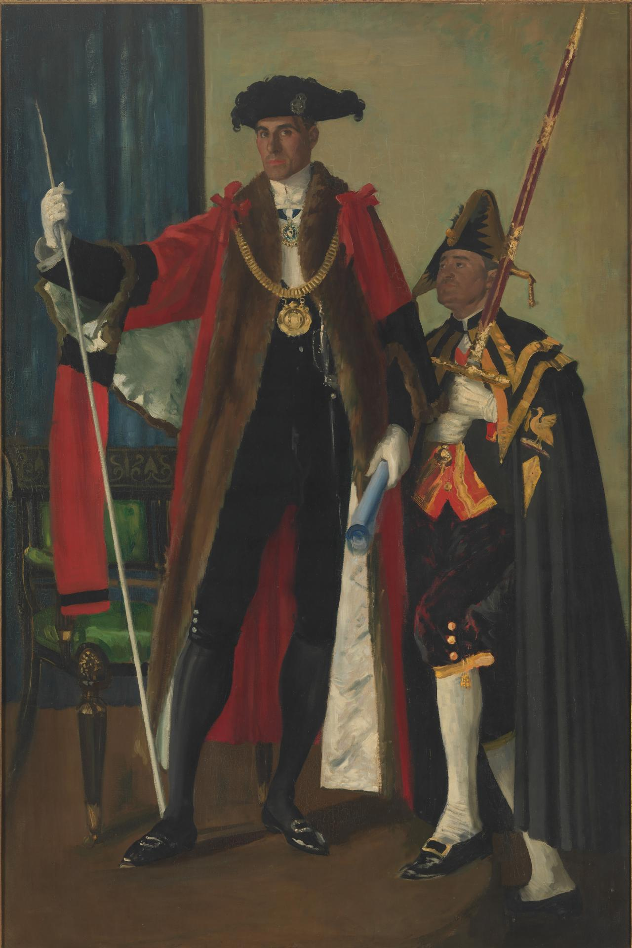 Rt. Hon. Harold Chaloner Dowdall, Lord Mayor of Liverpool and his sword-bearer