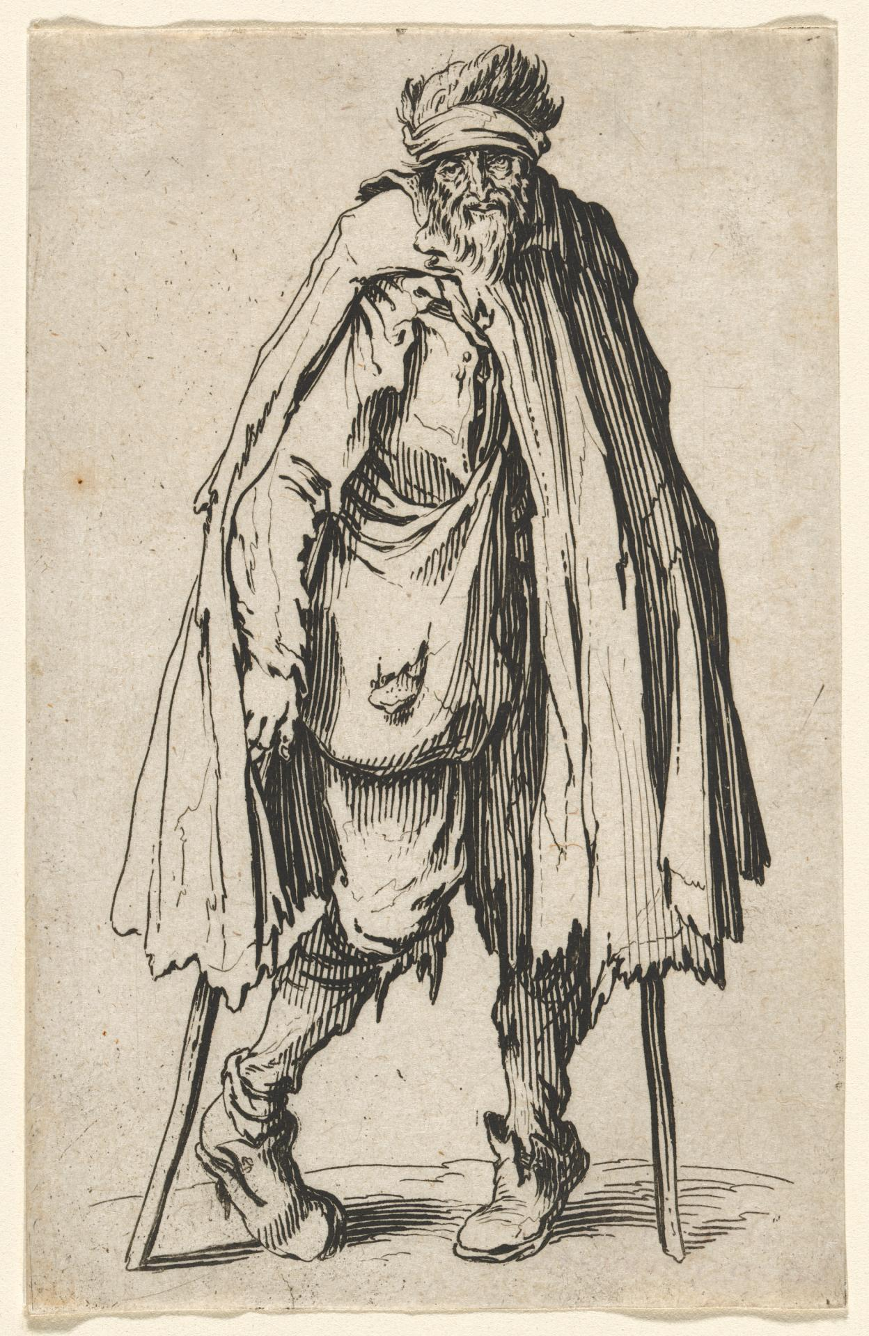 Beggar on crutches with a wallet