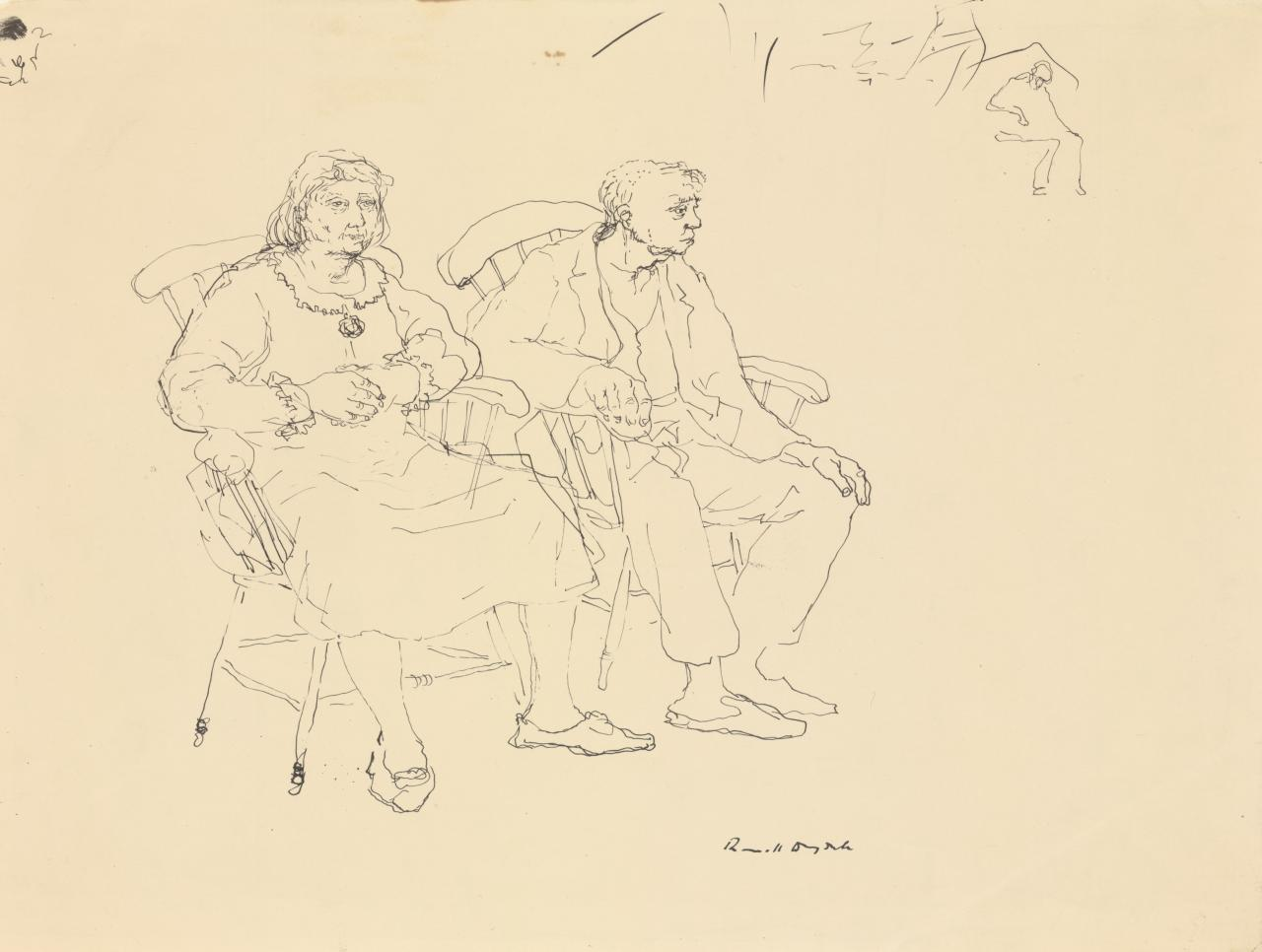 A woman and a man seated