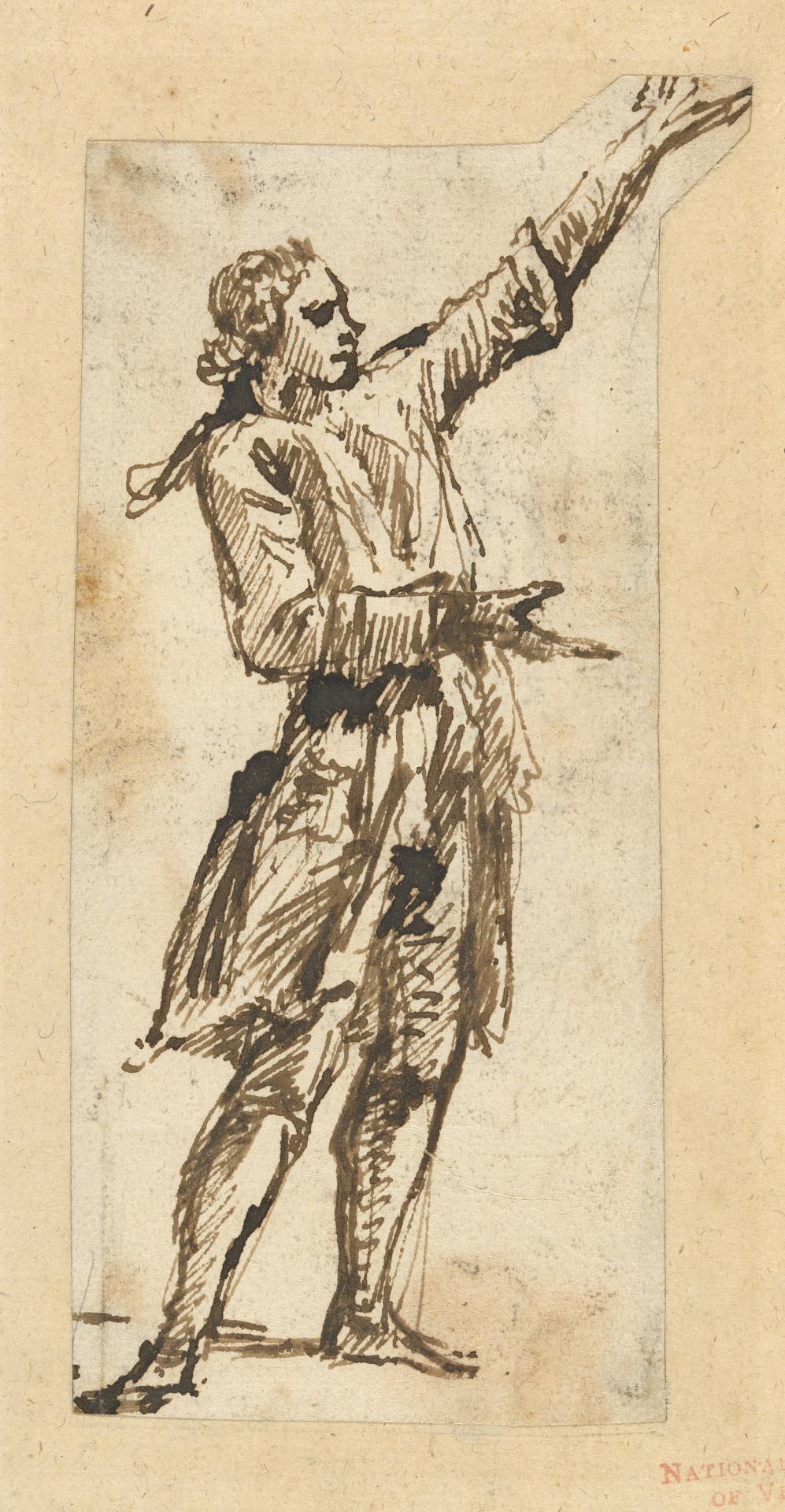 Figure study of a standing man facing right with left arm raised